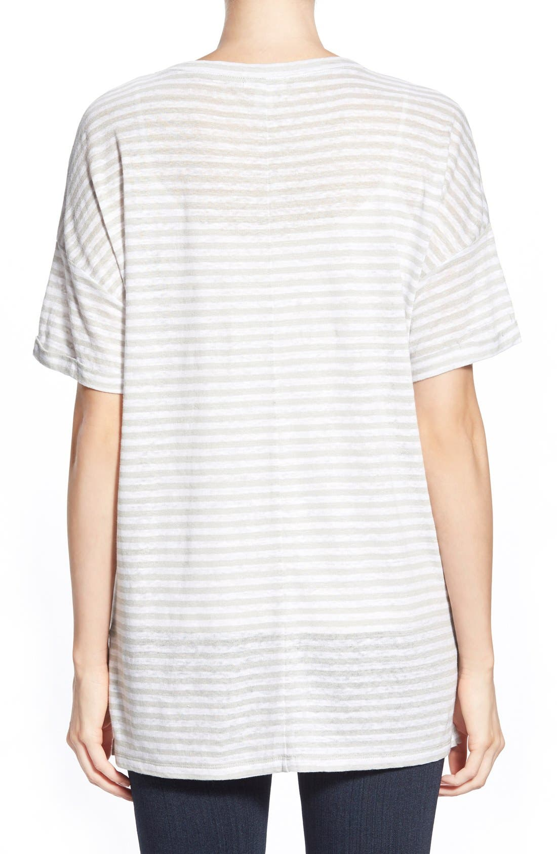 CASLON<SUP>®</SUP>, Cuff Sleeve One-Pocket Stripe Tee, Alternate thumbnail 4, color, 050
