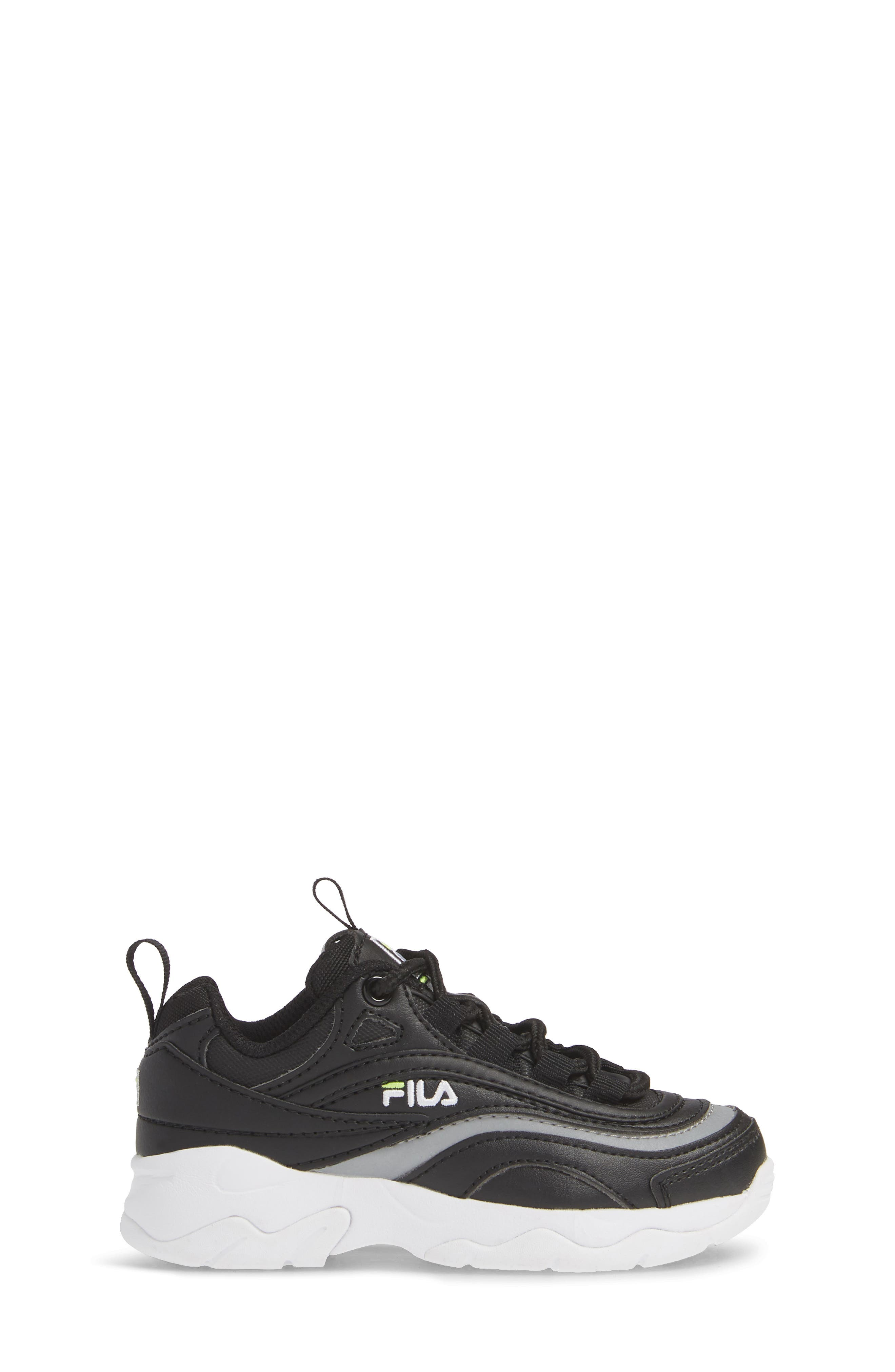 FILA, Ray Sneaker, Alternate thumbnail 3, color, BLACK/ SAFETY YELLOW/ SILVER