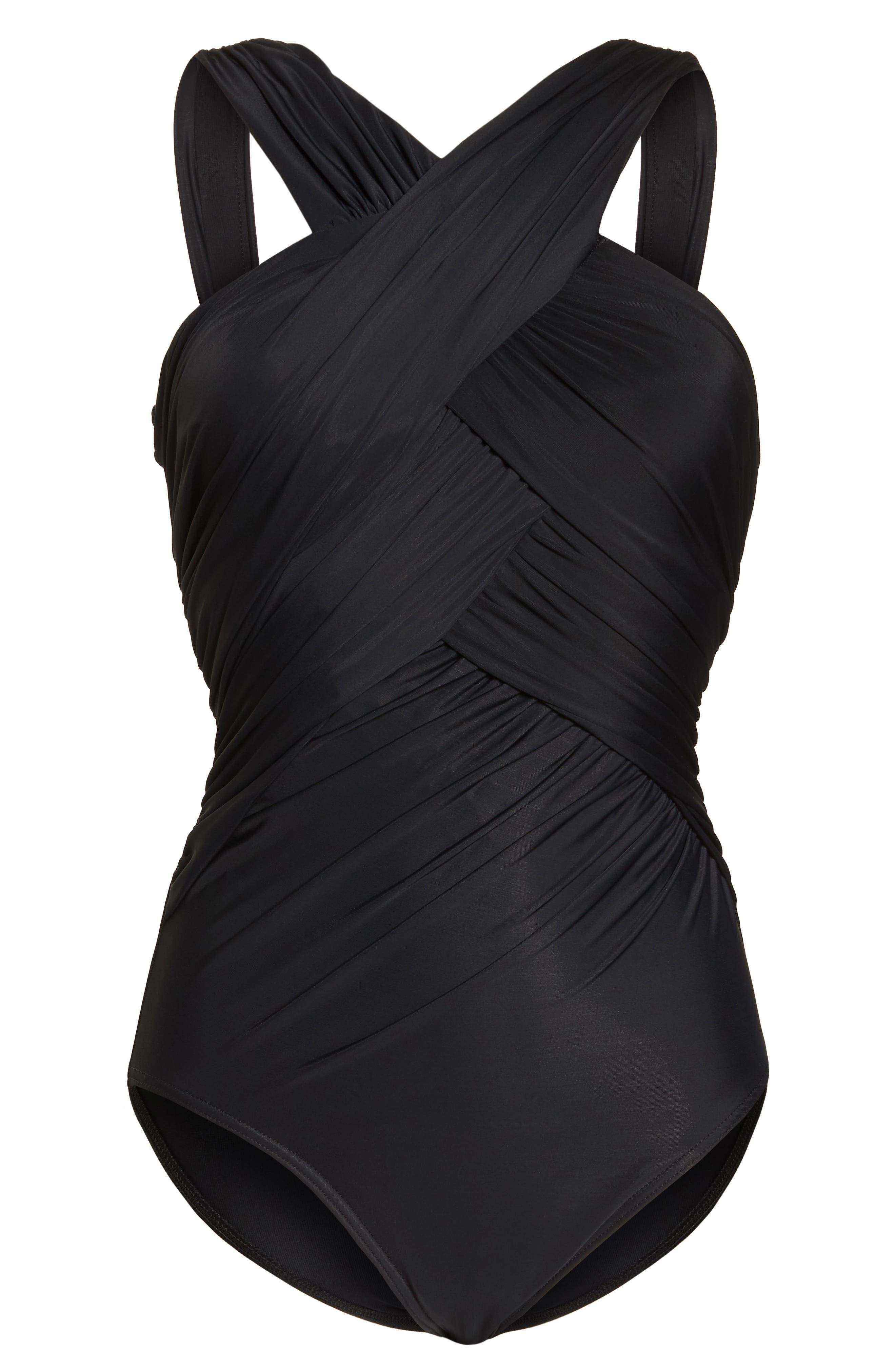 MIRACLESUIT<SUP>®</SUP>, Crisscross One-Piece Swimsuit, Alternate thumbnail 4, color, BLACK