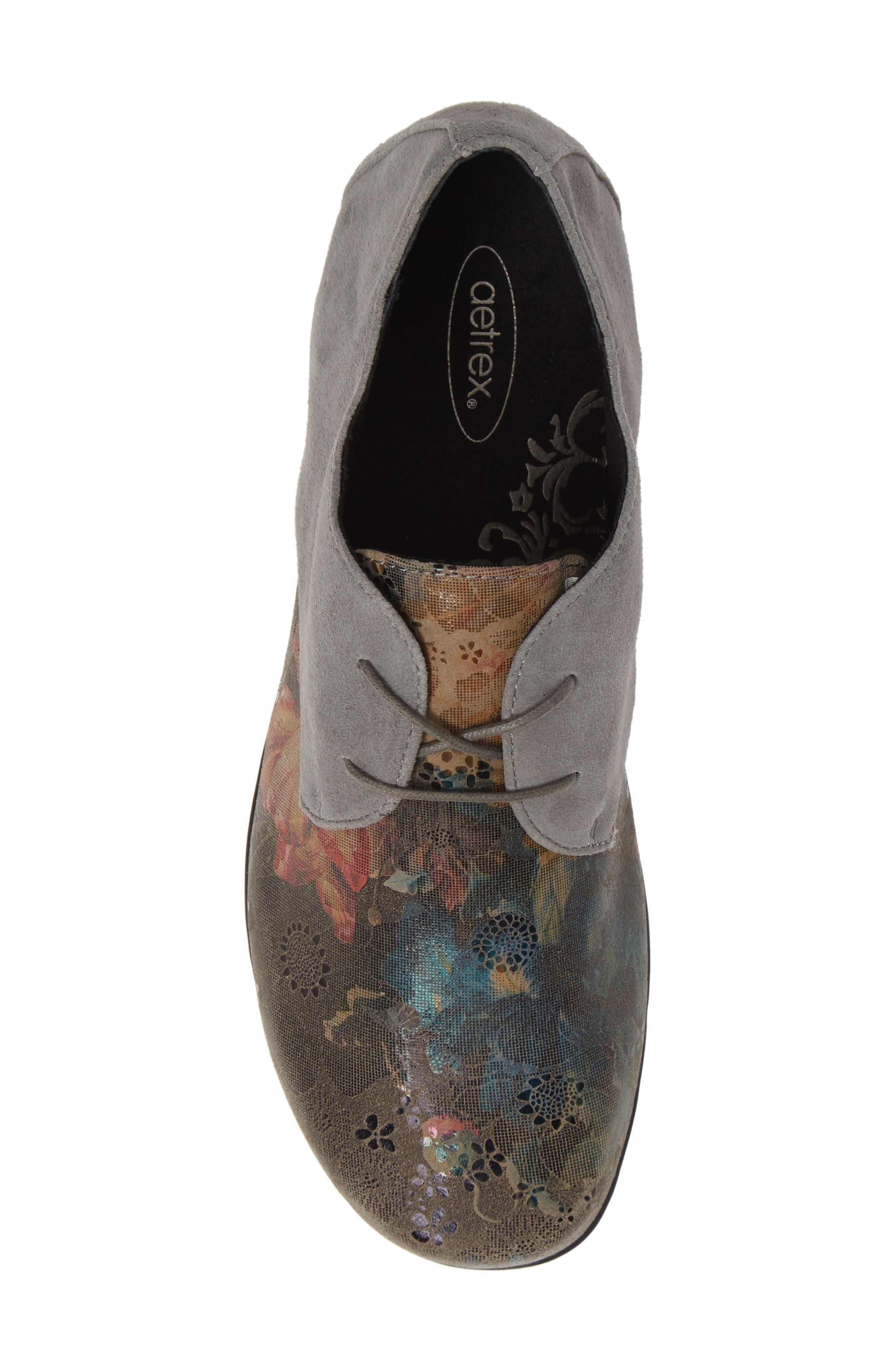 AETREX, Erin Saddle Shoe, Alternate thumbnail 5, color, CHARCOAL LEATHER