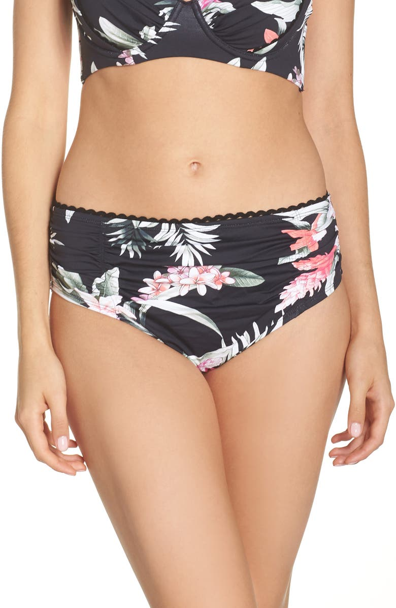 50b0d701507 TOMMY BAHAMA Ginger Flowers Shirred Bikini Bottoms, Main, color, BLACK