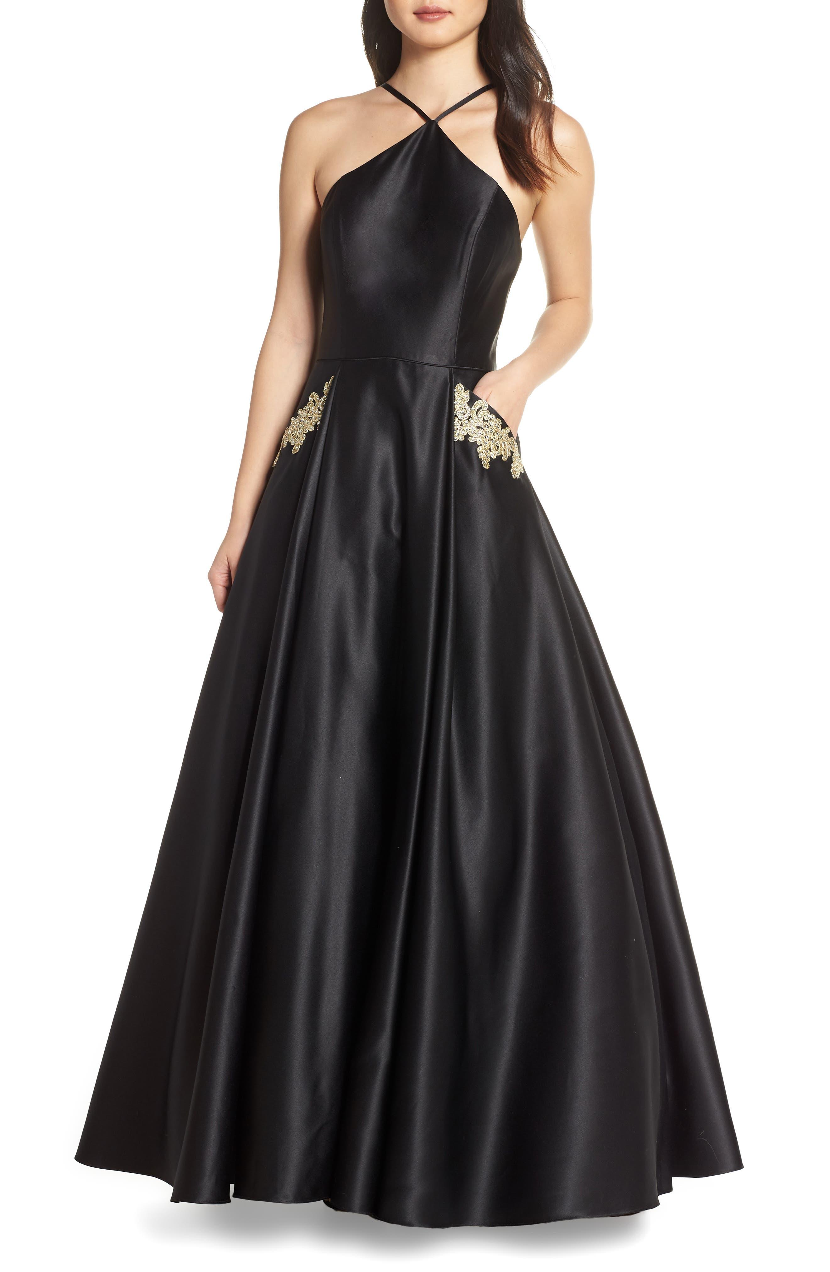 BLONDIE NITES, Halter Neck Embellished Pocket Satin Evening Dress, Main thumbnail 1, color, BLACK/ GOLD