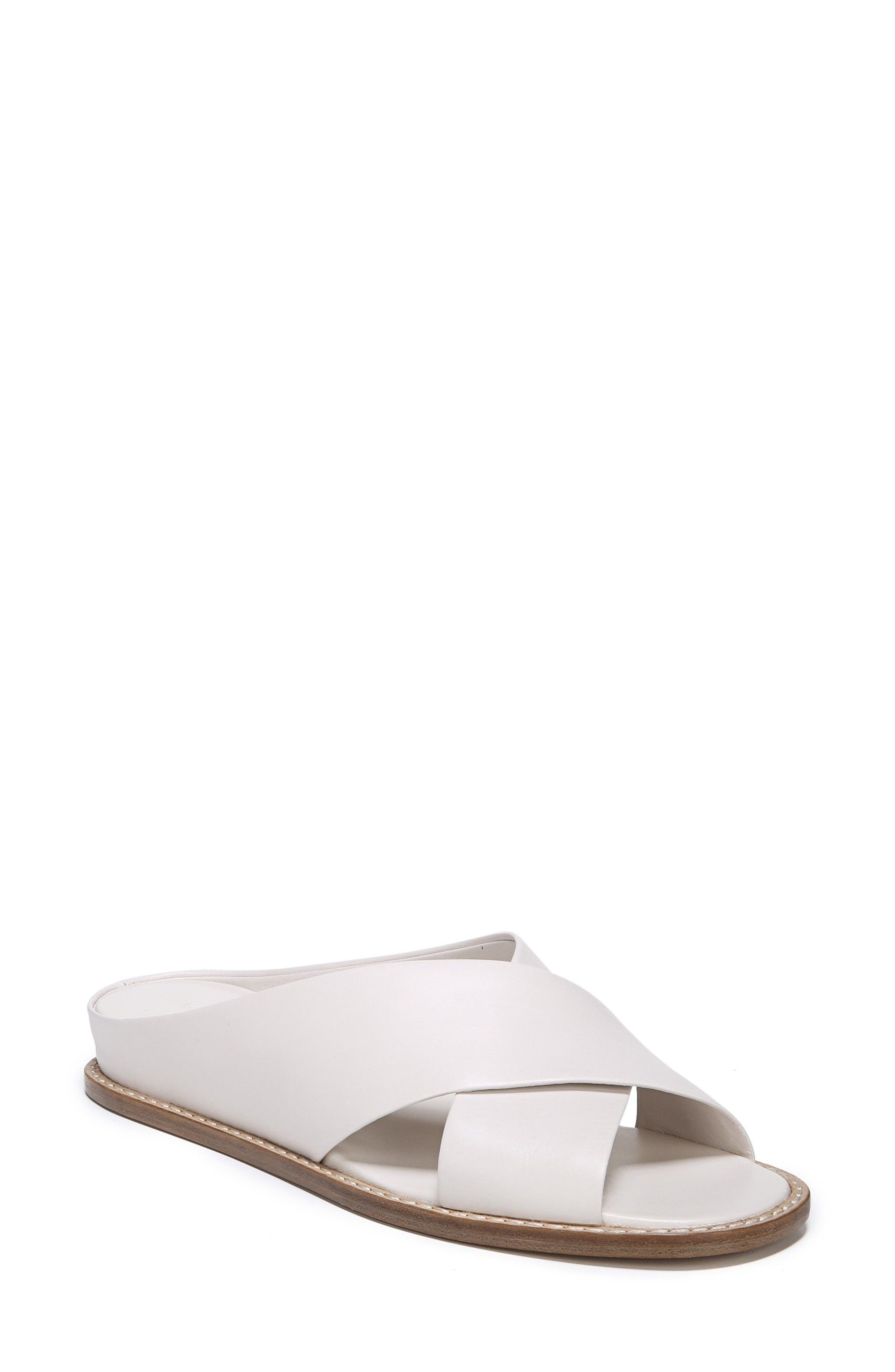 VINCE, Fairley Cross Strap Sandal, Main thumbnail 1, color, OFF WHITE LEATHER