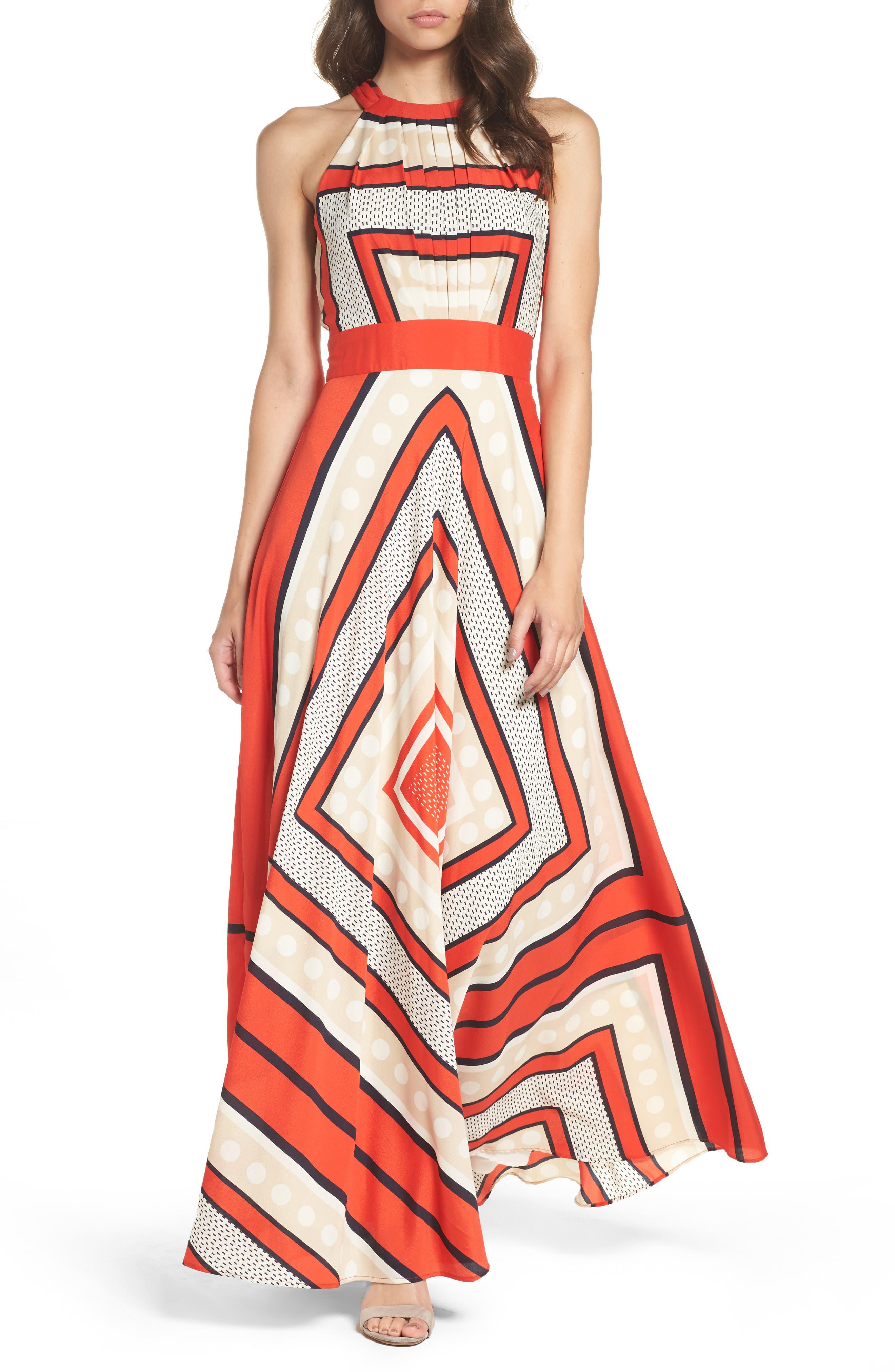 ELIZA J, Scarf Print Crêpe de Chine Fit & Flare Maxi Dress, Main thumbnail 1, color, MULTI