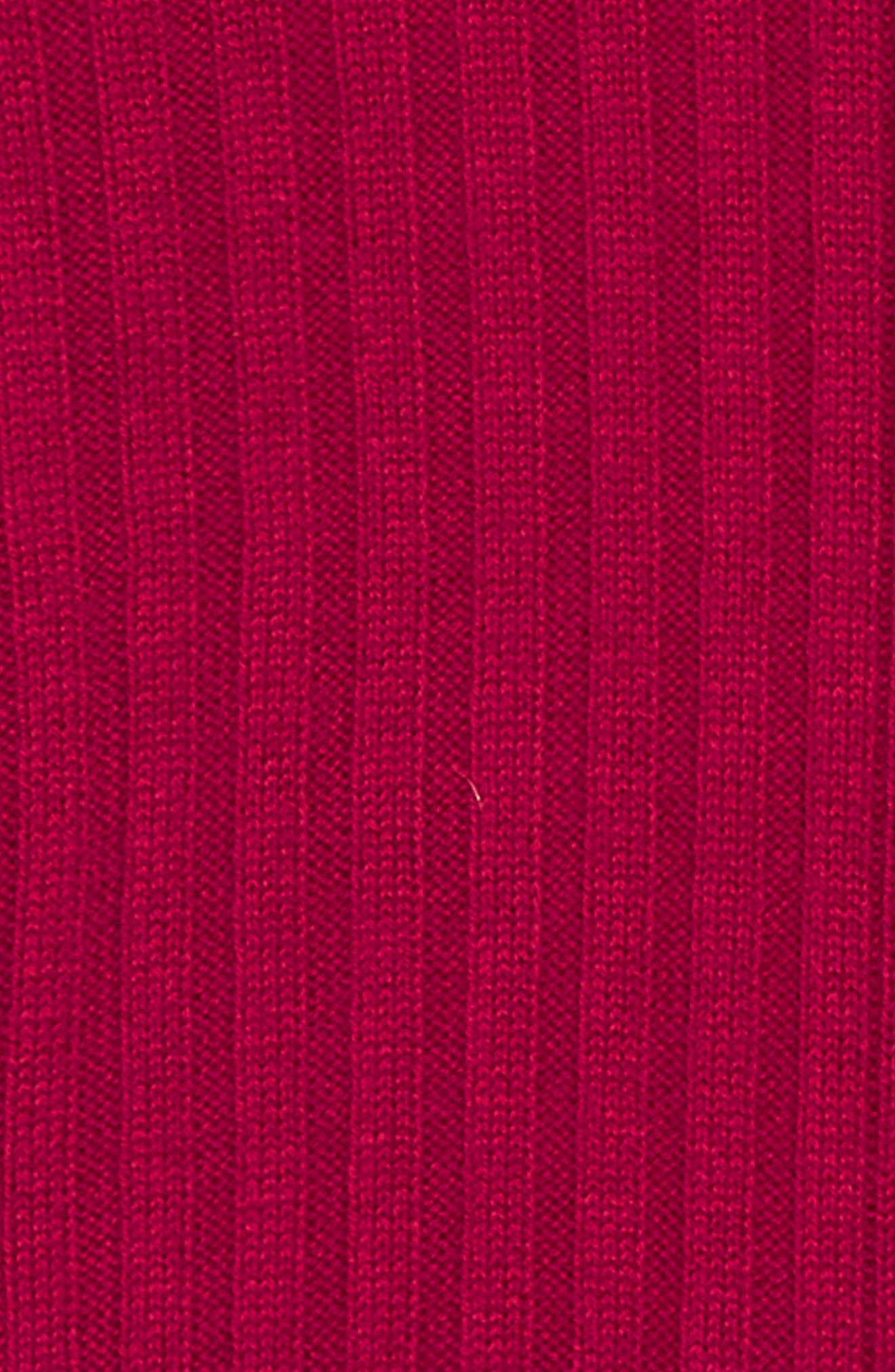 BURBERRY, Kids Cathina Check Detail Wool & Cashmere Sweater Dress, Alternate thumbnail 3, color, BURGUNDY RED