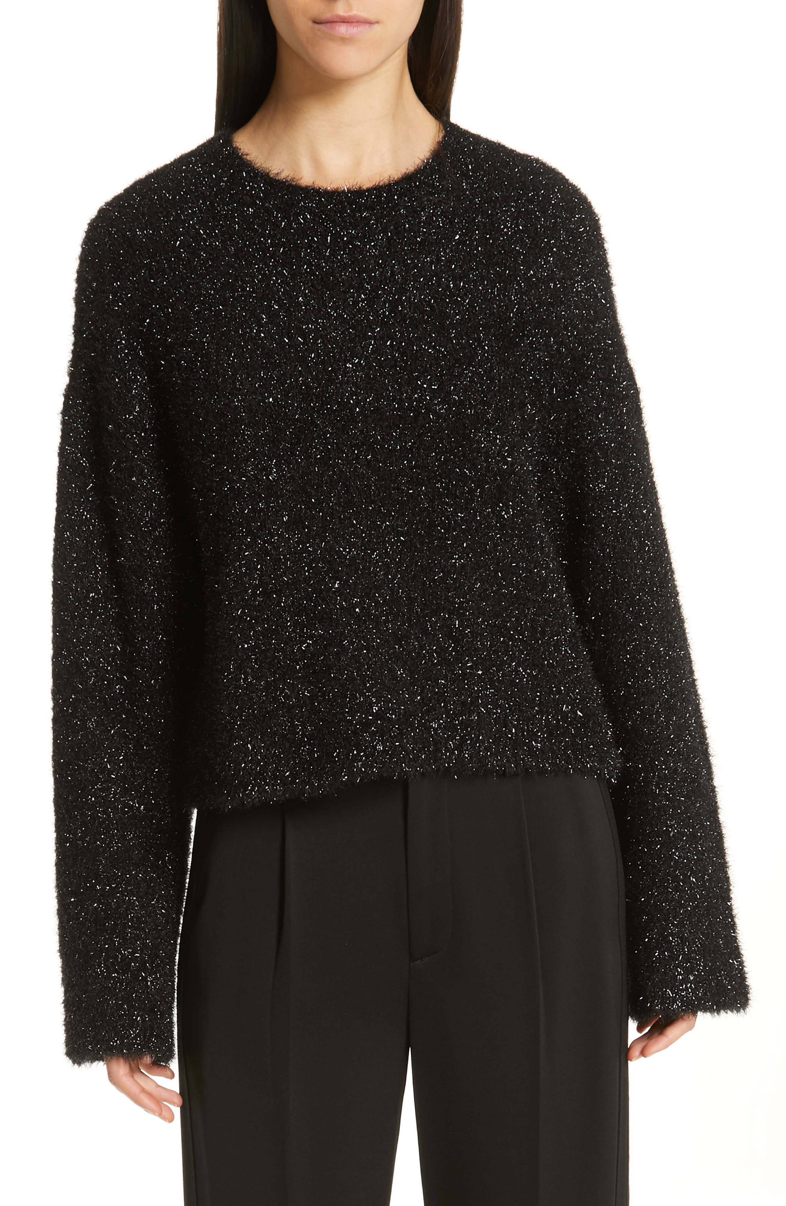 VINCE Boxy Metallic Knit Sweater, Main, color, BLACK