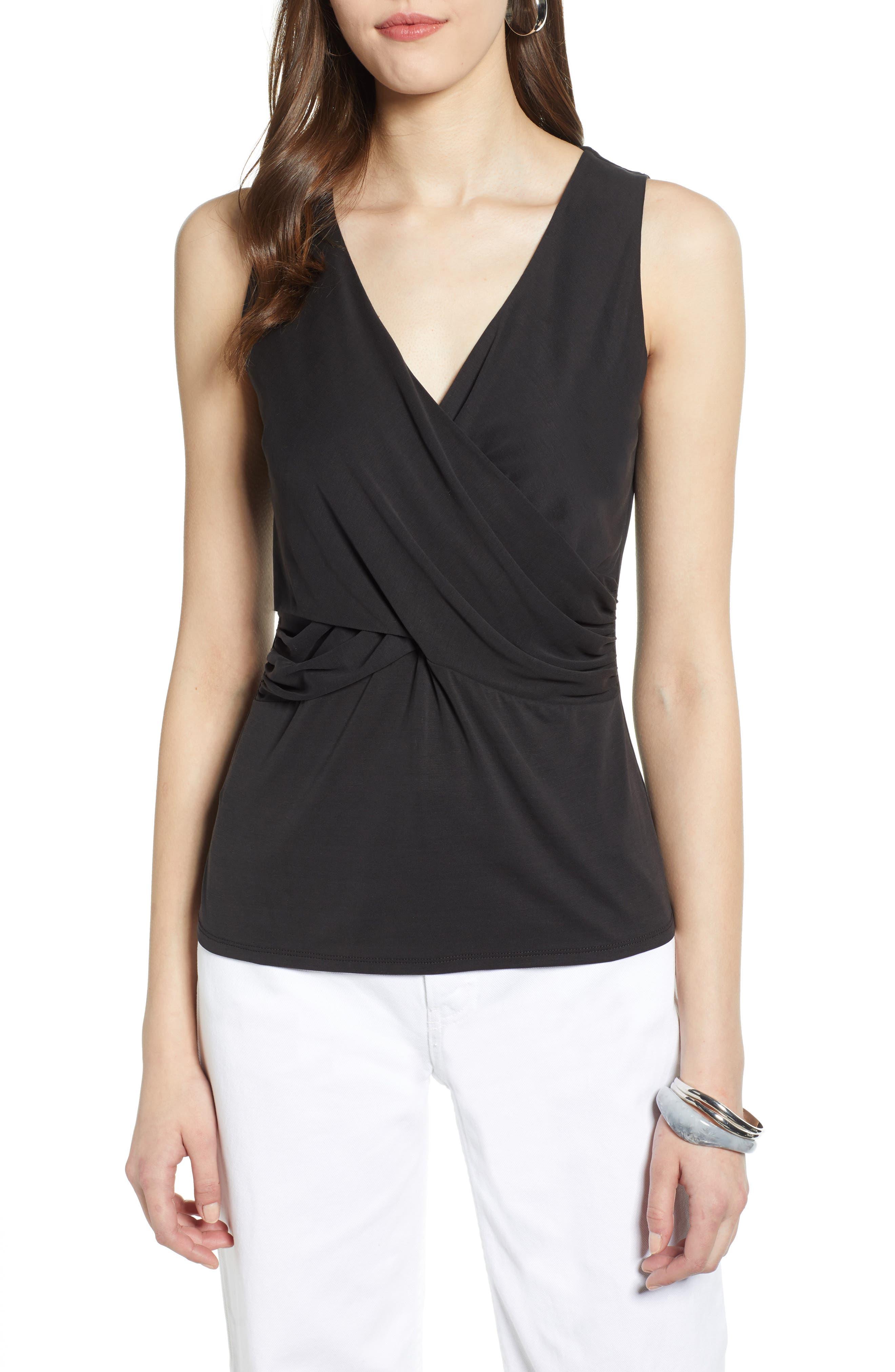 HALOGEN<SUP>®</SUP> Cross Front Knit Tank, Main, color, BLACK