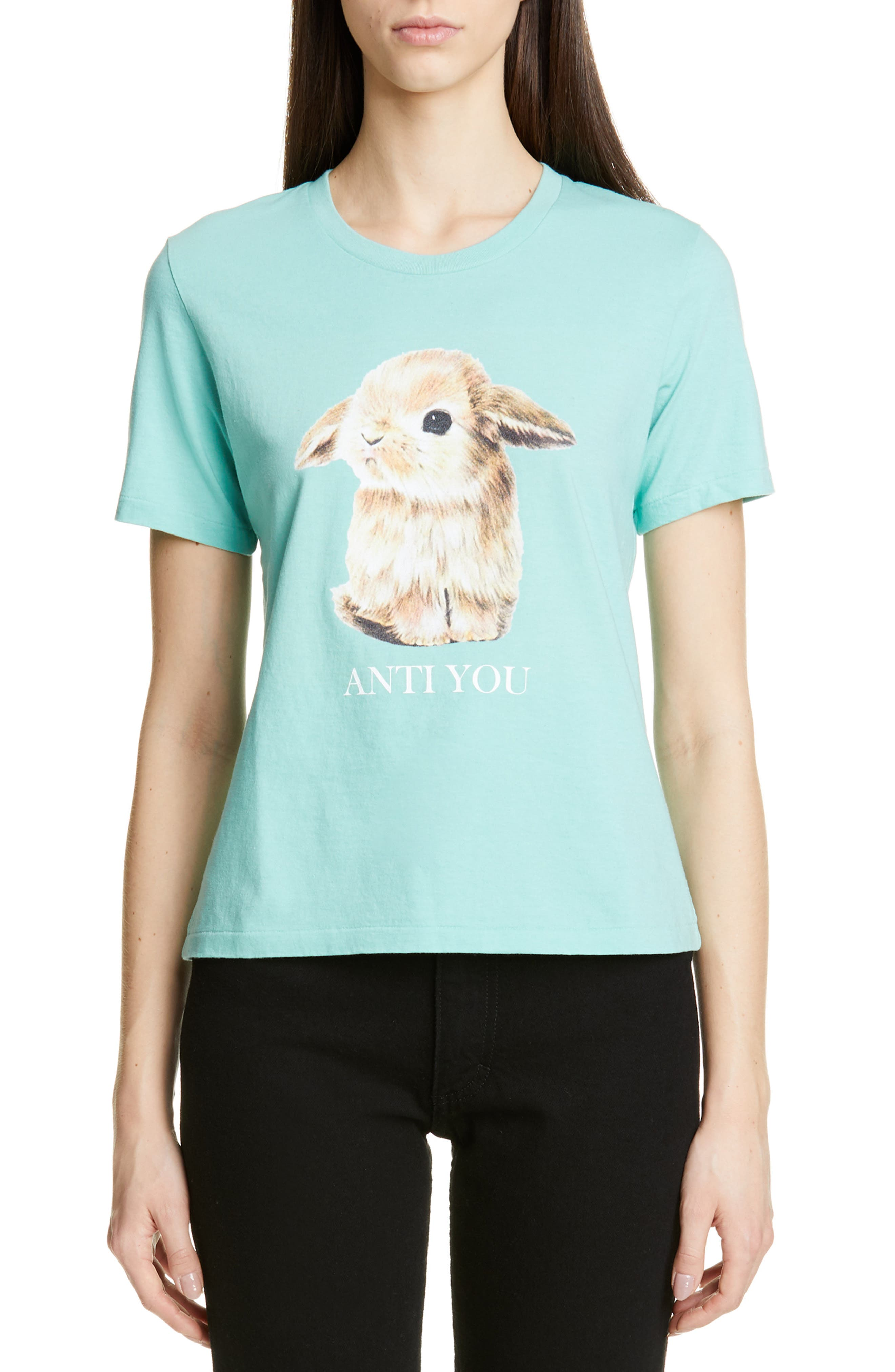 UNDERCOVER Rabbit Print Tee, Main, color, B PALE GREEN