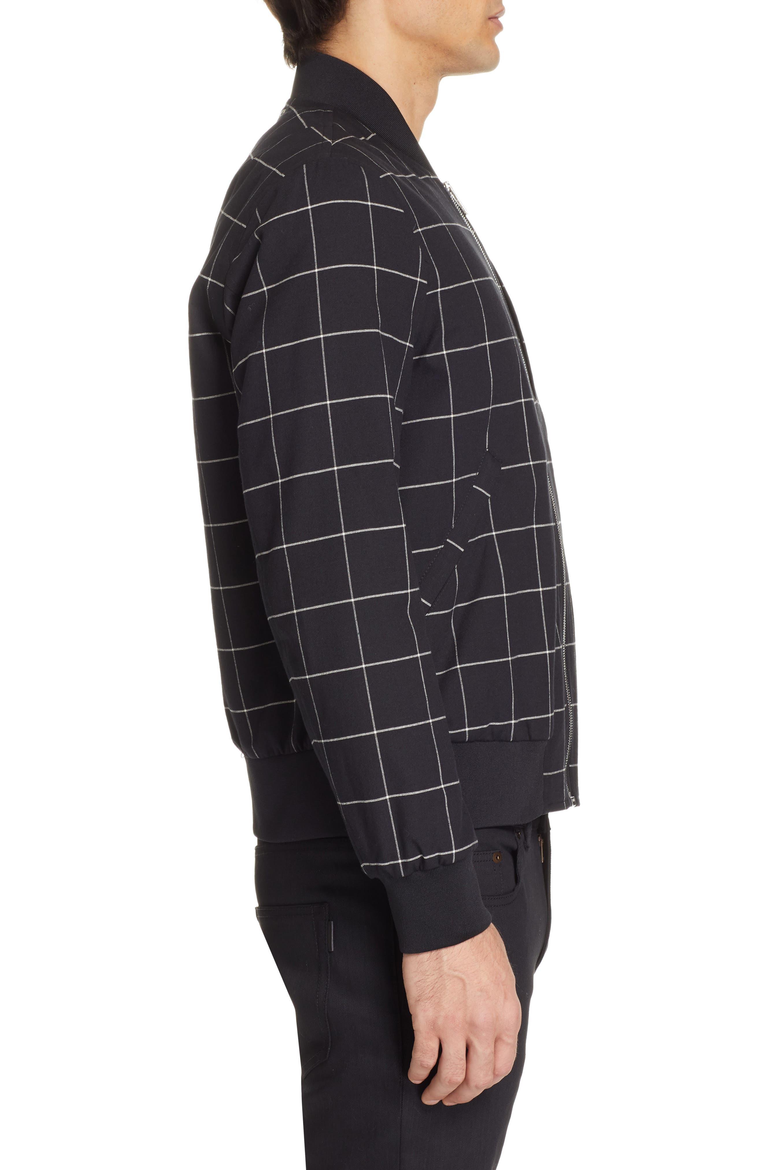 PS PAUL SMITH, Grid Wool Blend Bomber Jacket, Alternate thumbnail 3, color, BLACK