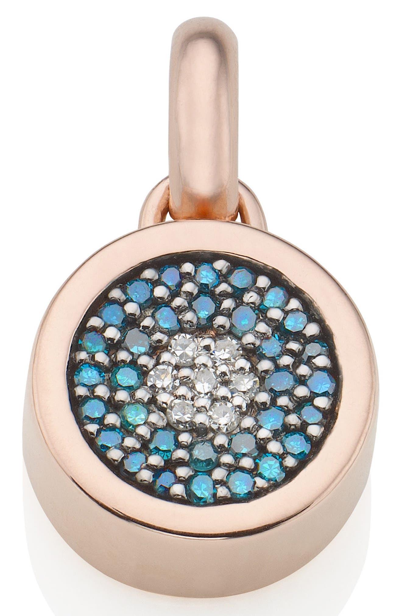 MONICA VINADER, Evil Eye Diamond Pendant Charm, Main thumbnail 1, color, ROSE GOLD/ DIAMOND