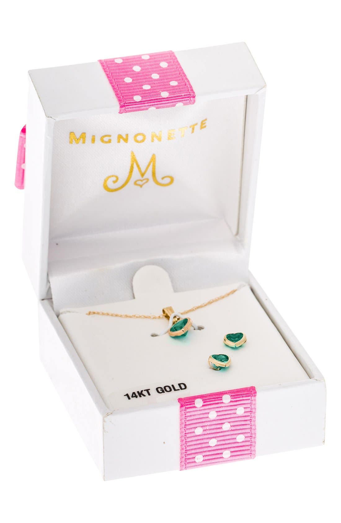 MIGNONETTE, 14k Gold Birthstone Necklace & Stud Earrings, Alternate thumbnail 3, color, MAY