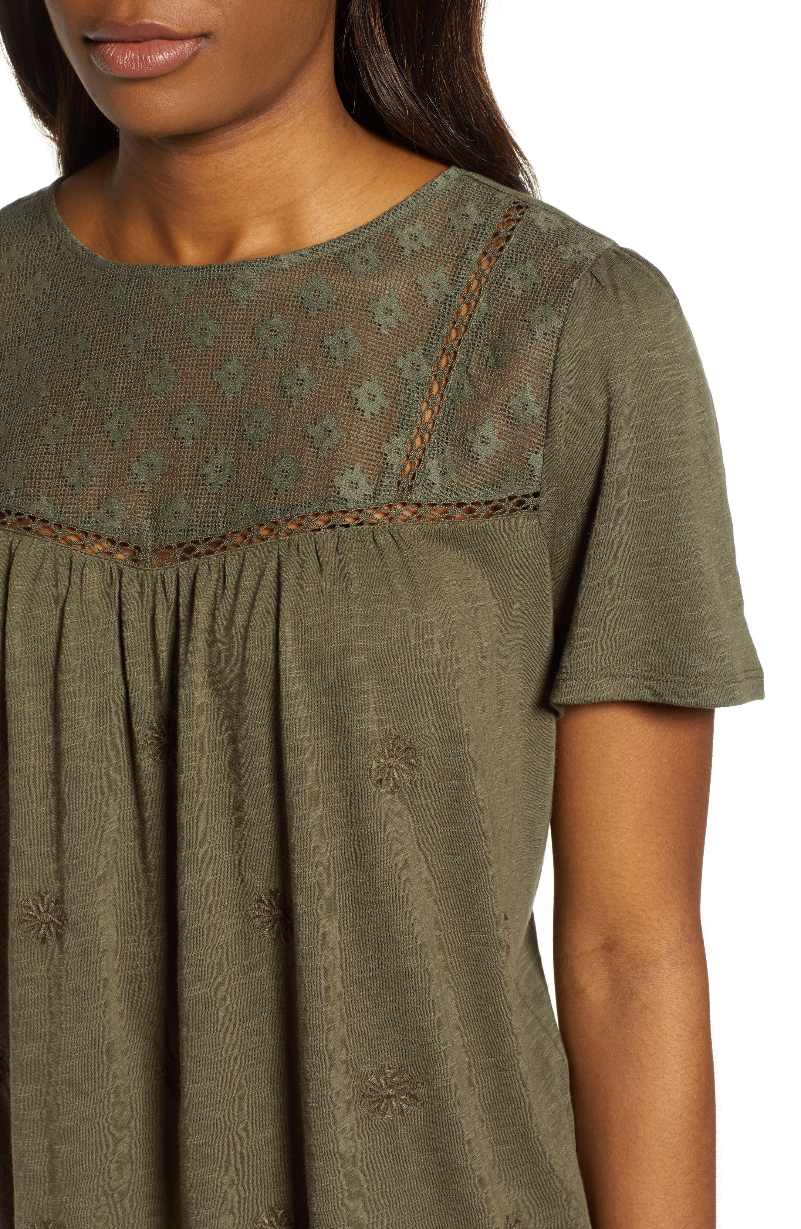 CASLON<SUP>®</SUP>, Embroidered Mesh Yoke Top, Alternate thumbnail 4, color, OLIVE SARMA
