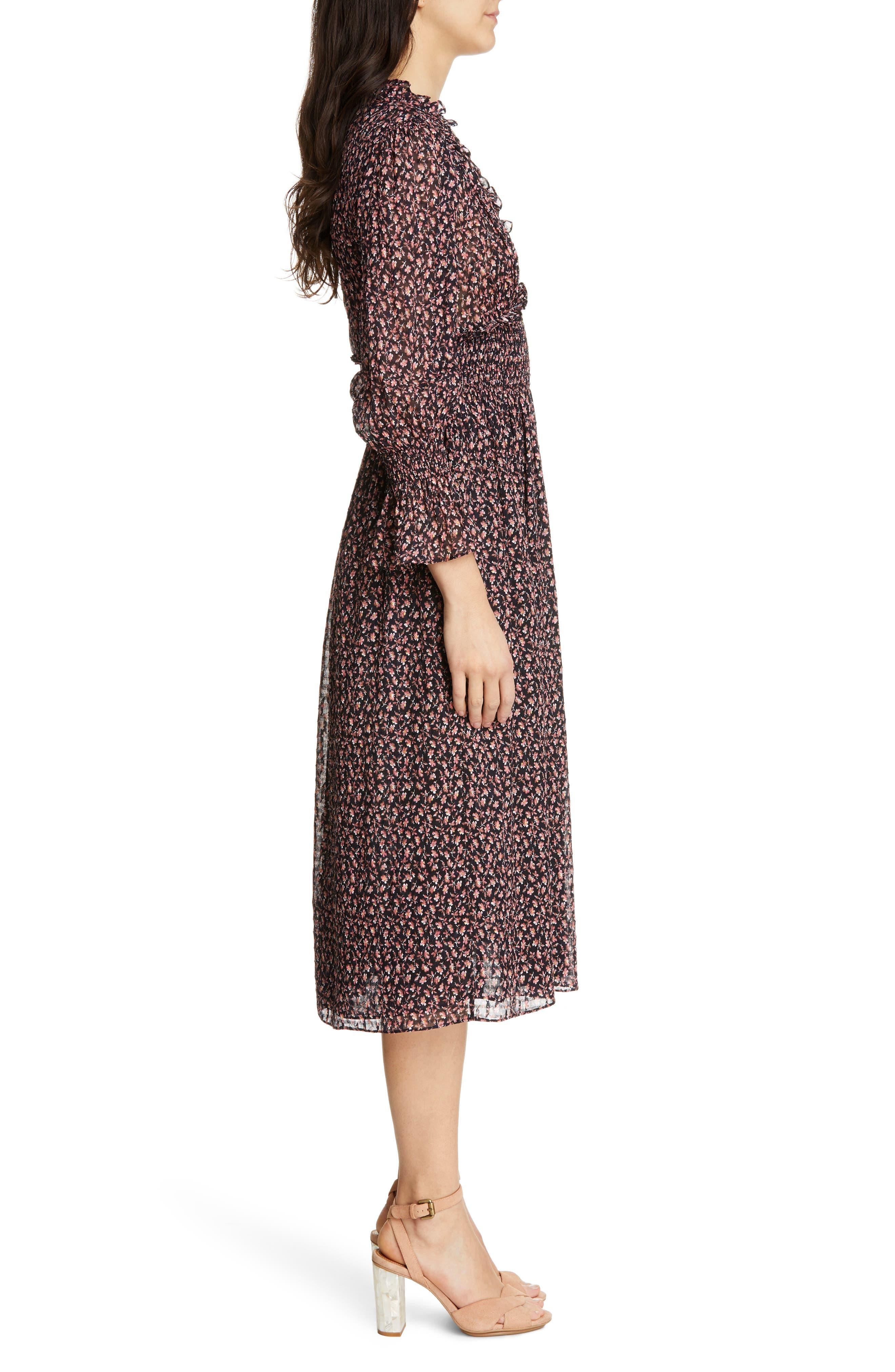 REBECCA TAYLOR, Floral Smock Detail Long Sleeve Silk & Cotton Dress, Alternate thumbnail 3, color, NAVY COMBO