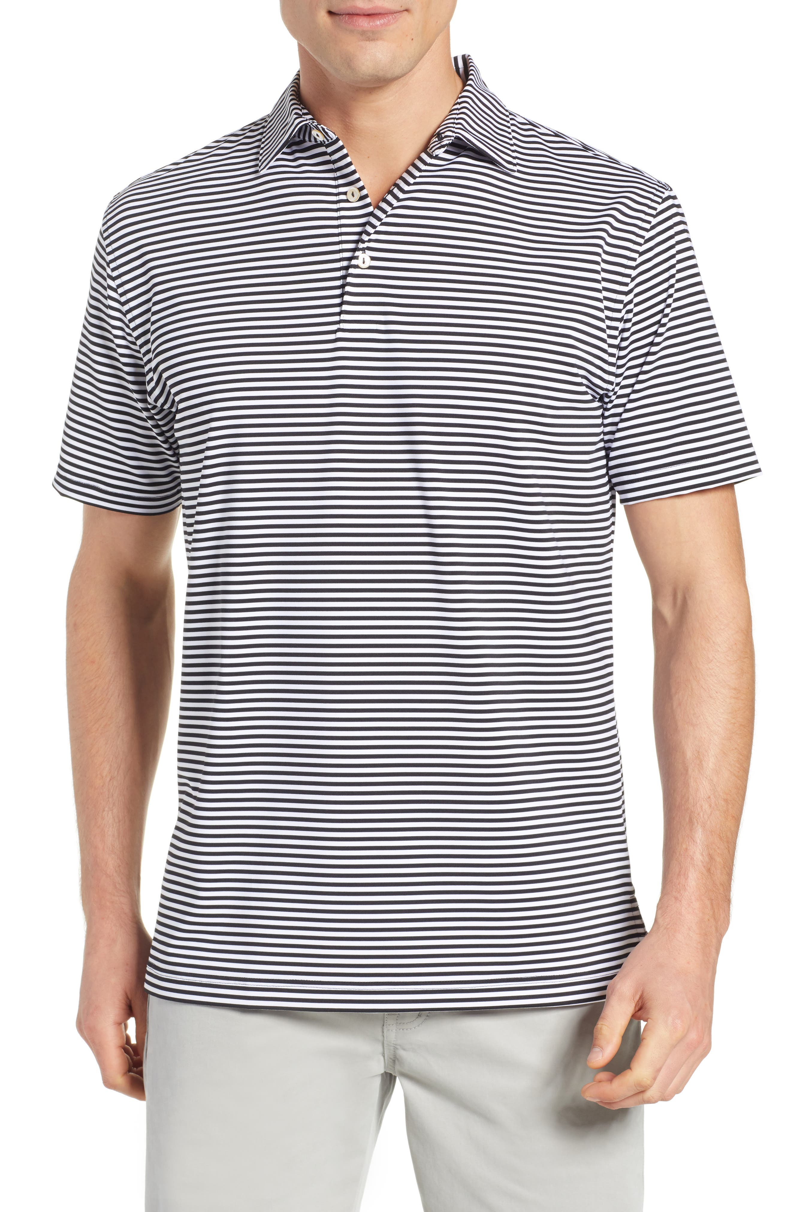 PETER MILLAR Stripe Stretch Jersey Performance Polo, Main, color, BLACK/WHITE