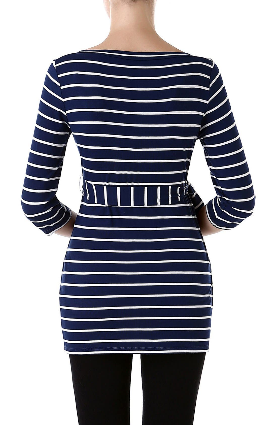 KIMI AND KAI, 'Whitney' Stripe Belted Maternity Top, Alternate thumbnail 2, color, NAVY/ IVORY