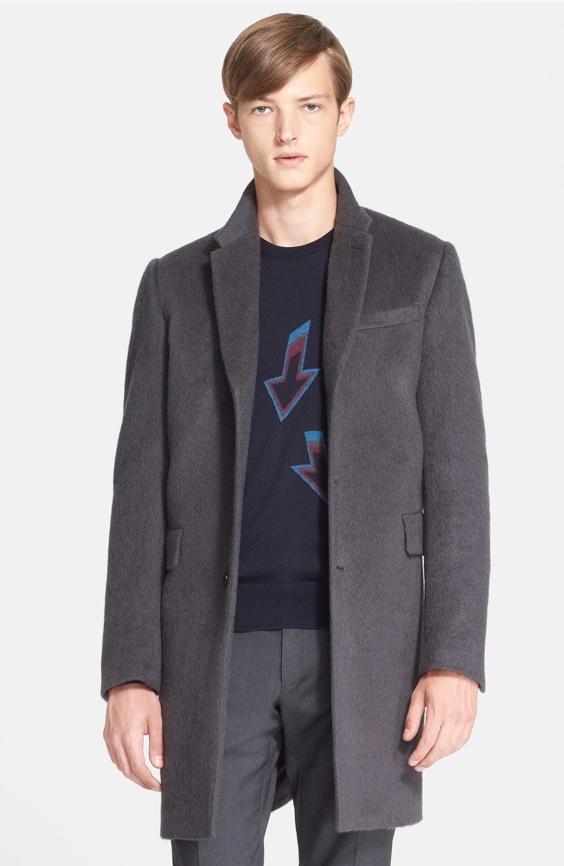 PS PAUL SMITH, Extra Trim Fit Wool Blend Topcoat, Main thumbnail 1, color, 086