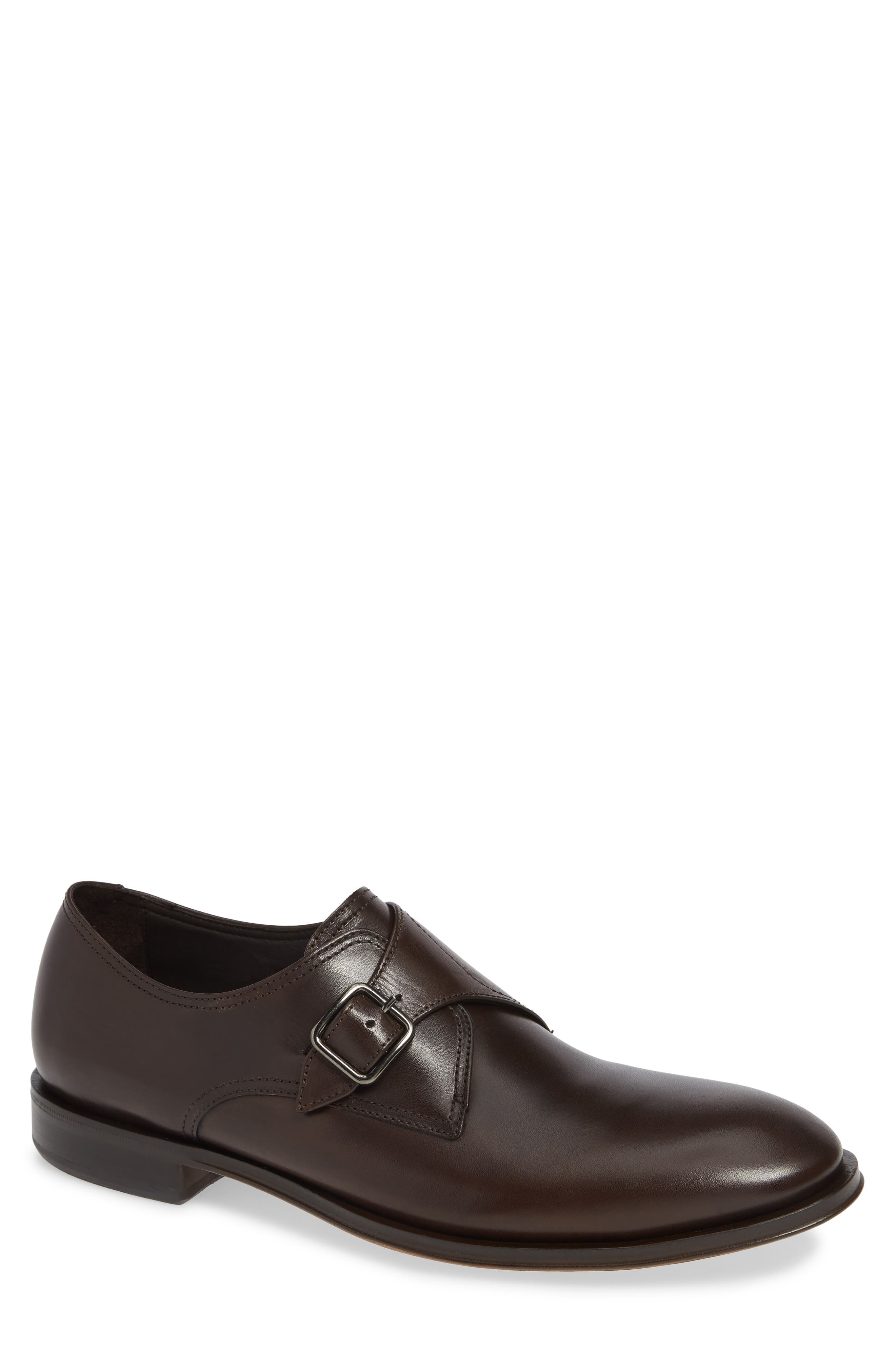 ALLEN EDMONDS, Umbria Monk Strap Shoe, Main thumbnail 1, color, DARK BROWN LEATHER