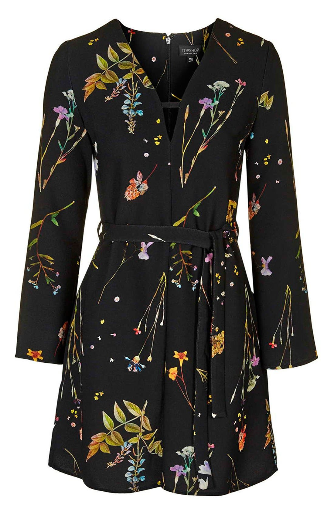 TOPSHOP, Belted Floral Tunic Dress, Alternate thumbnail 5, color, 001