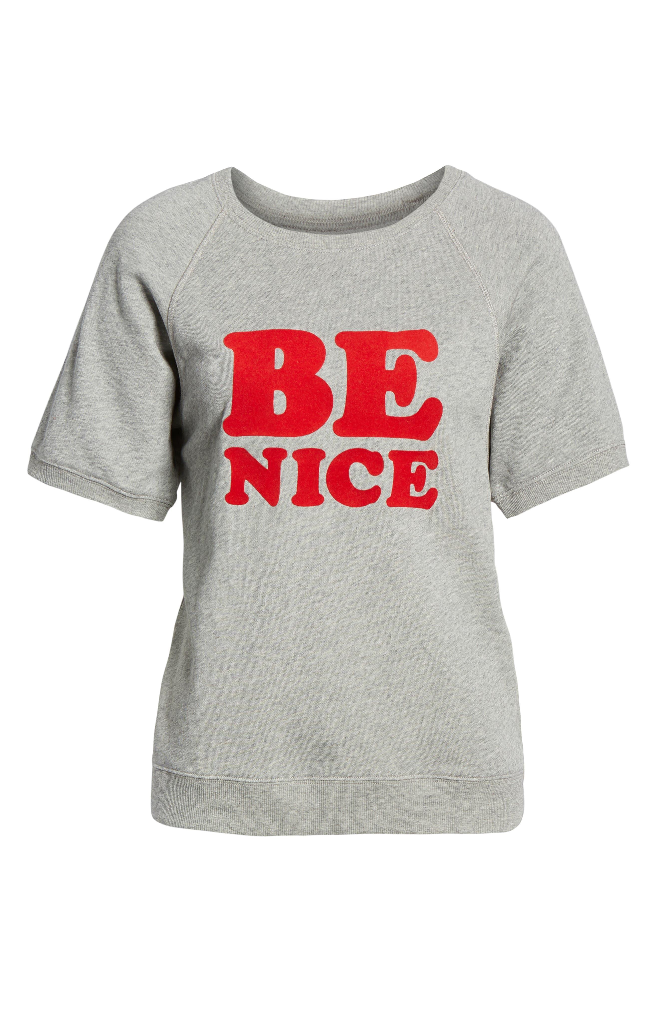 BAN.DO, Be Nice Flocked Short Sleeve Cotton Sweatshirt, Alternate thumbnail 6, color, GREY