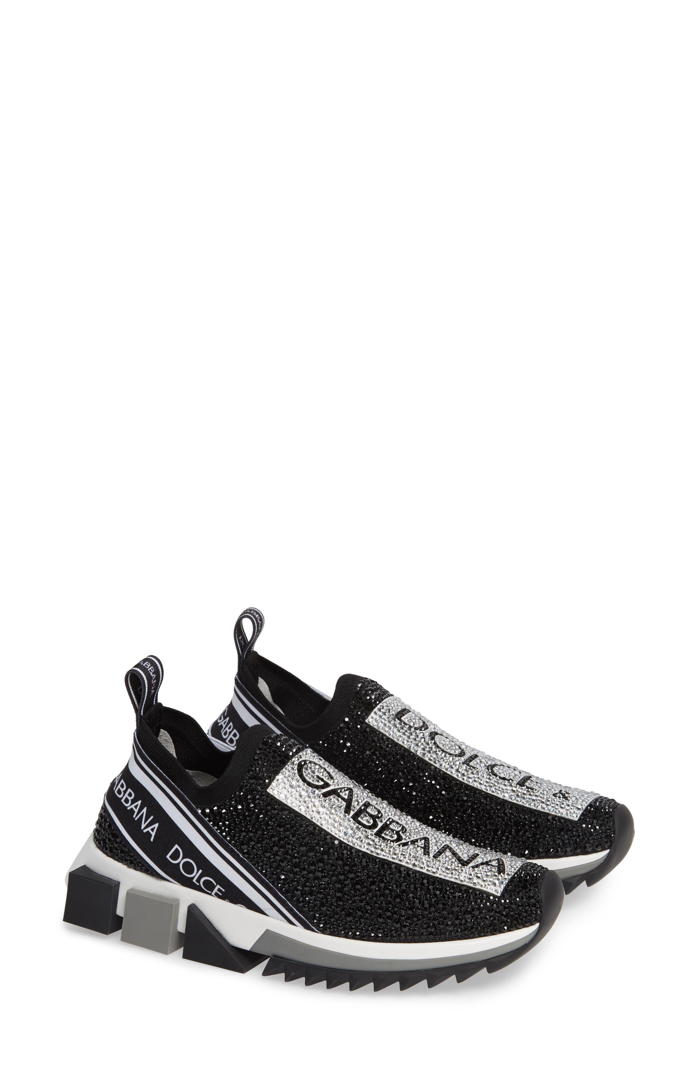 DOLCE&GABBANA, Sorrento Jeweled Logo Sneaker, Alternate thumbnail 2, color, 040