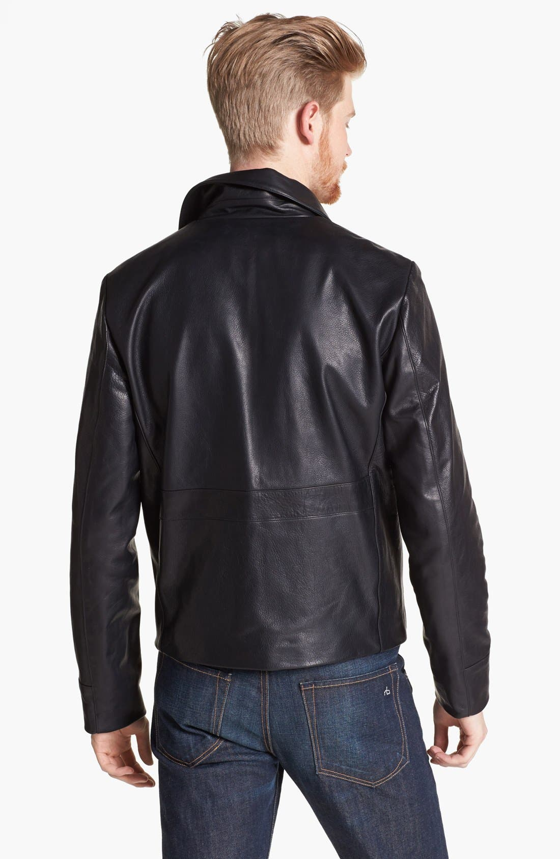 BILLY REID, Leather Flight Jacket, Alternate thumbnail 4, color, 001