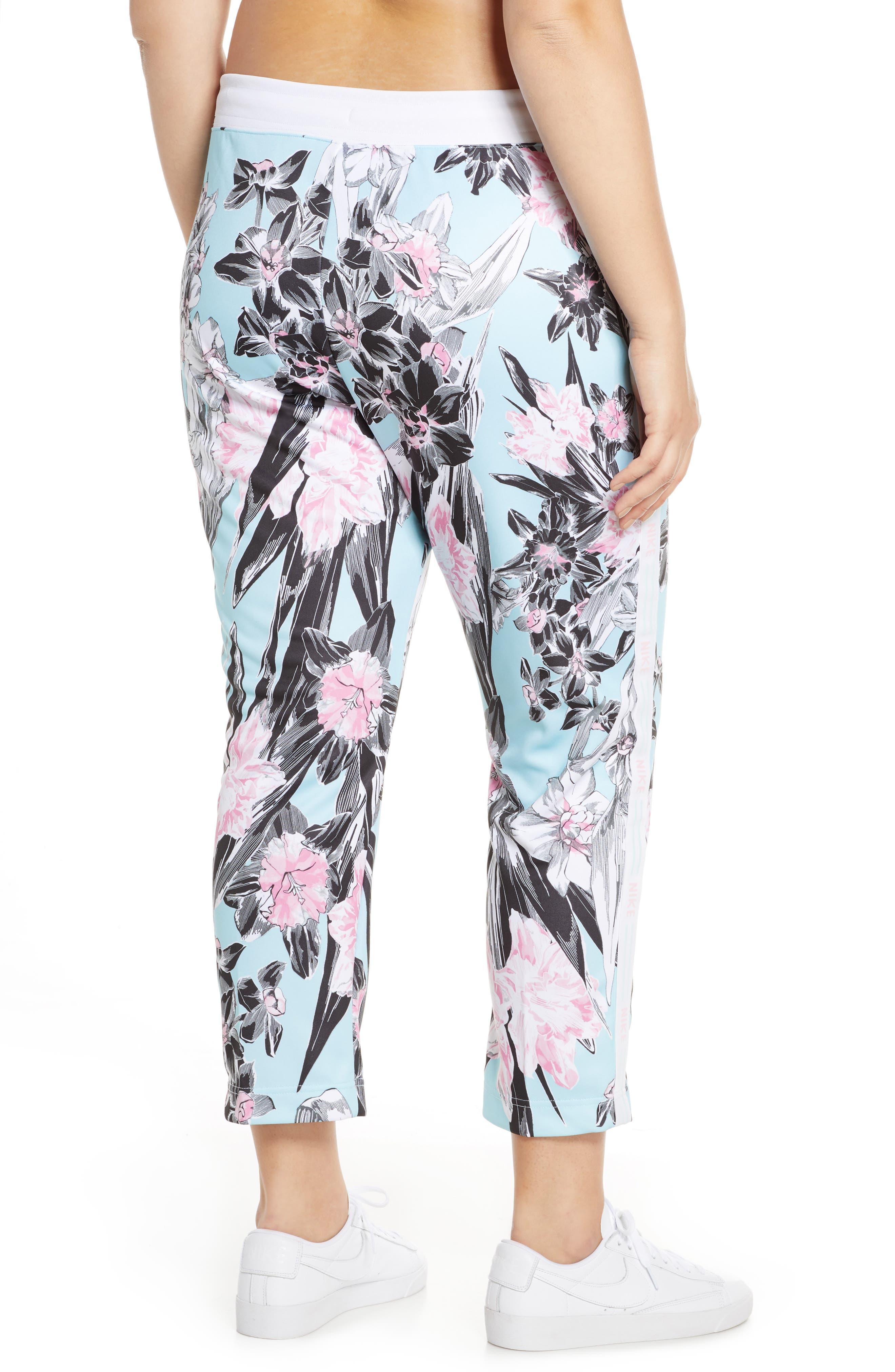 NIKE, Sportswear Floral Print Pants, Alternate thumbnail 10, color, TOPAZ MIST/ WHITE/ WHITE