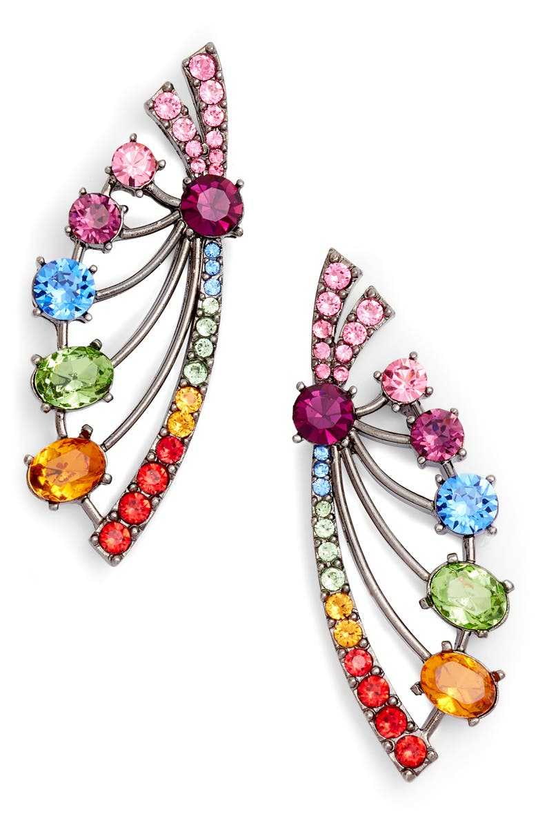 428b6feaf OSCAR DE LA RENTA Crystal Fan Earrings, Main, color, 600