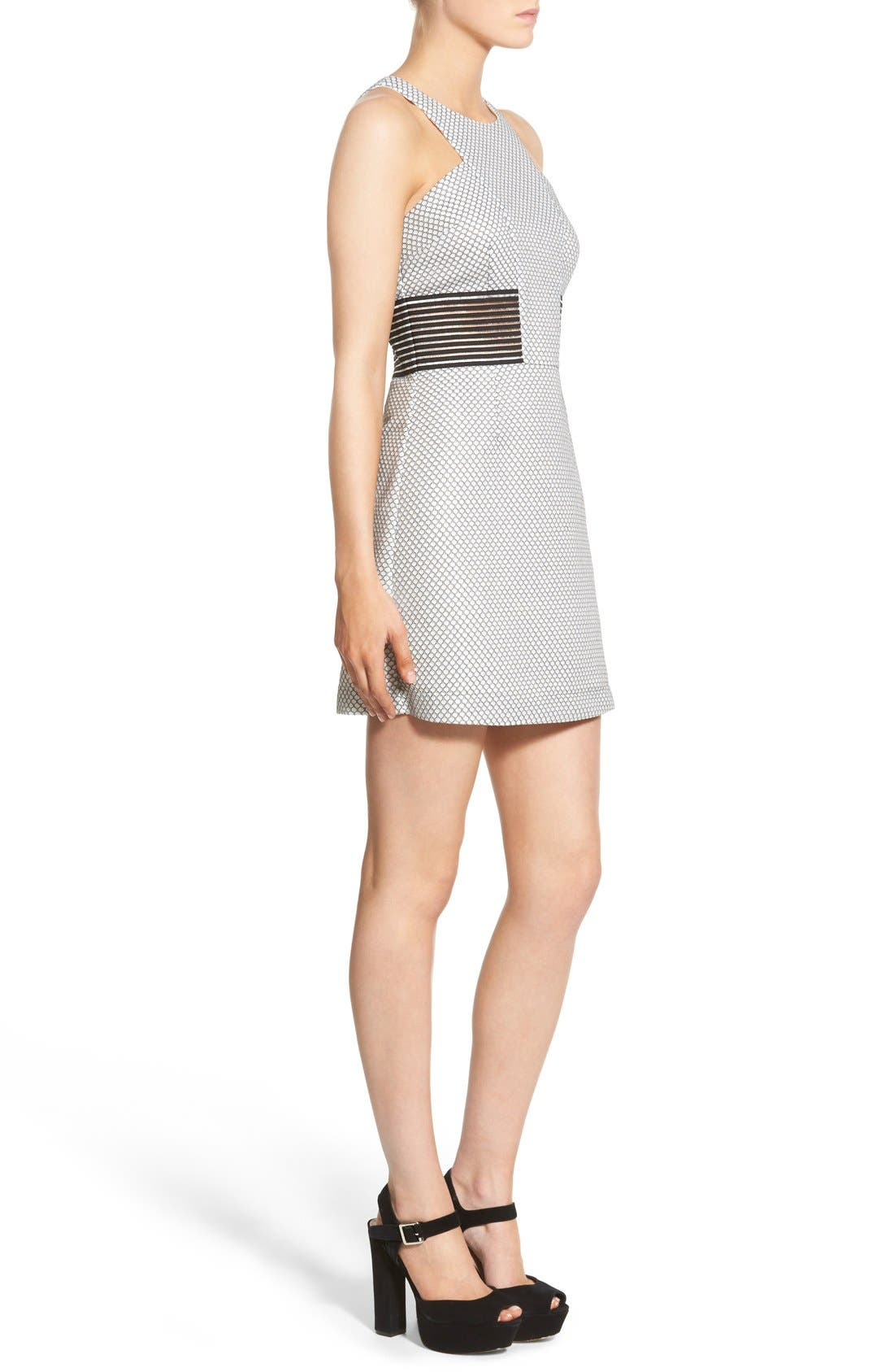 STOREE, Mesh Inset Body-Con Dress, Alternate thumbnail 3, color, 101