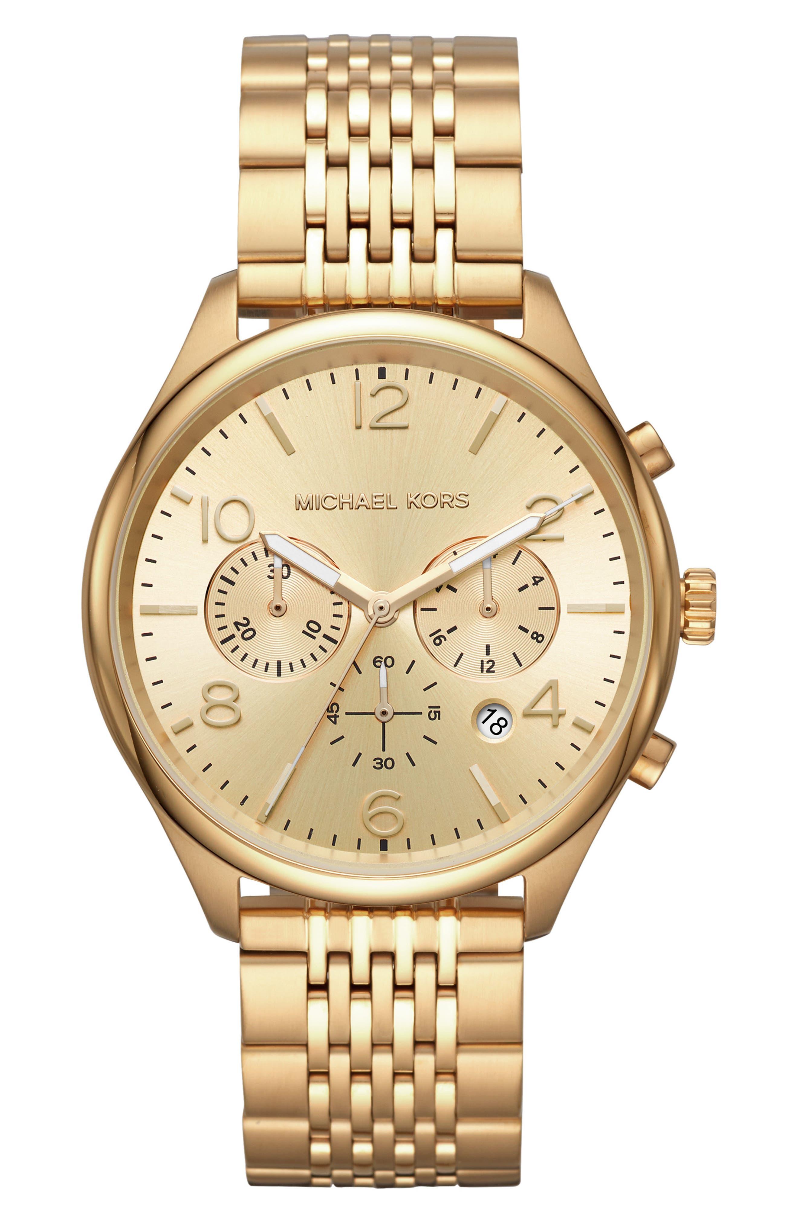 MICHAEL KORS, Merrick Bracelet Watch, 42mm, Main thumbnail 1, color, GOLD
