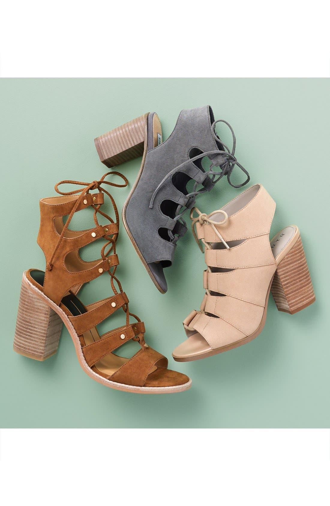 HINGE, 'Drea' Peep Toe Leather Sandal, Main thumbnail 1, color, 002