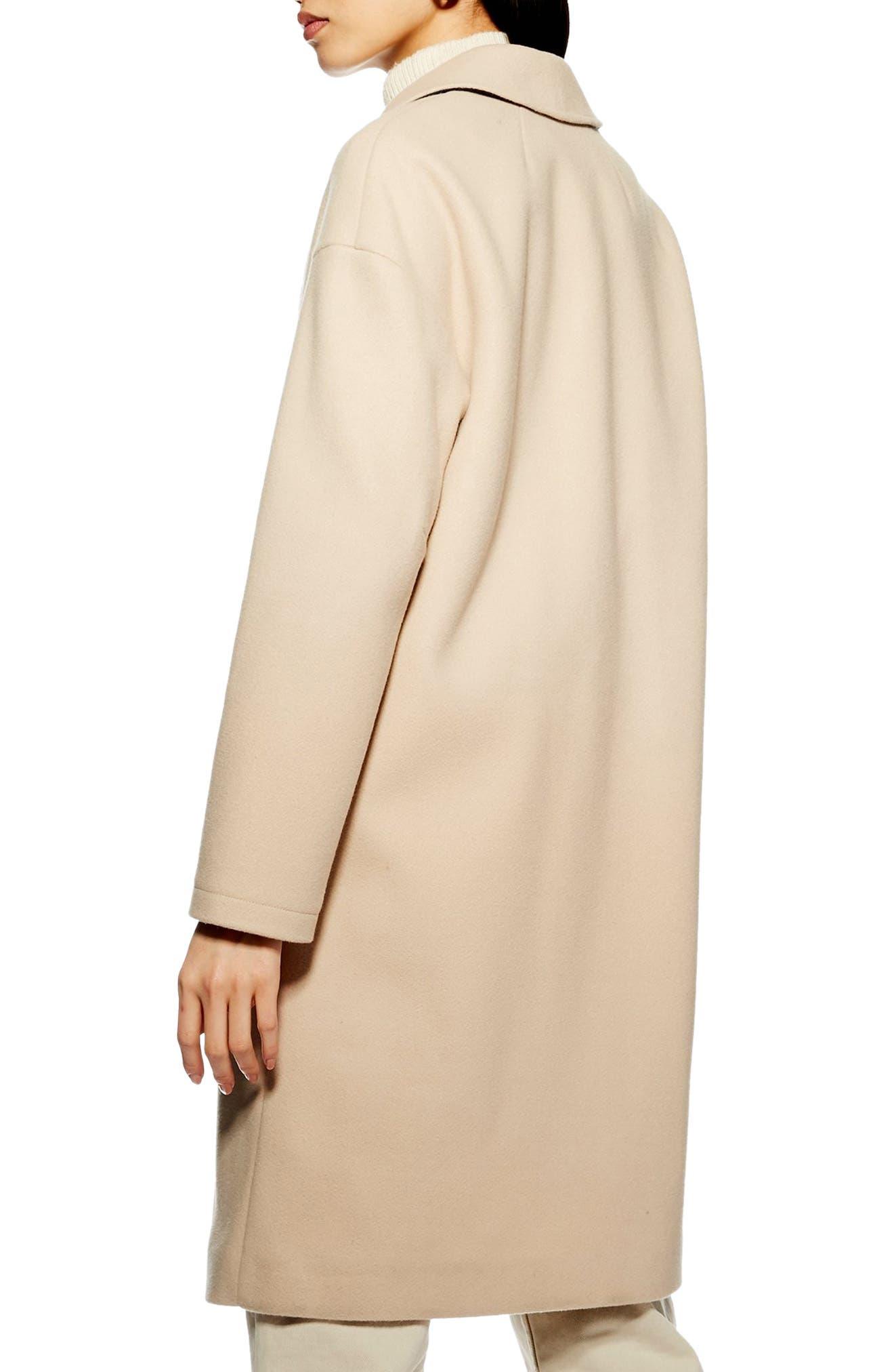 TOPSHOP, Lily Knit Back Midi Coat, Alternate thumbnail 2, color, 250