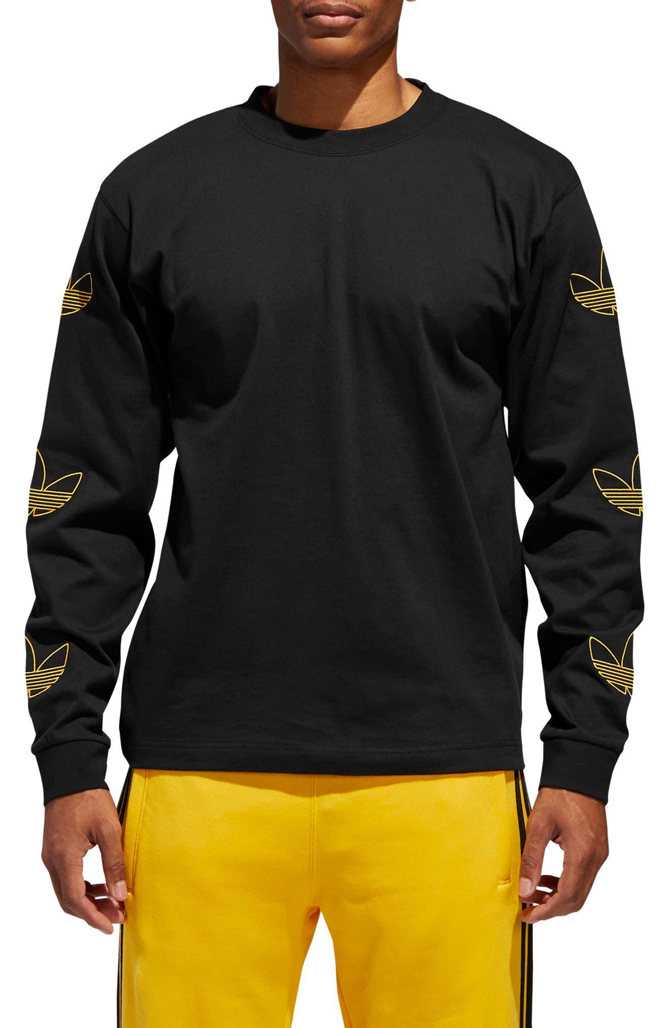 ADIDAS ORIGINALS, Embroidered Trefoil Long Sleeve T-Shirt, Main thumbnail 1, color, BLACK/ WHITE