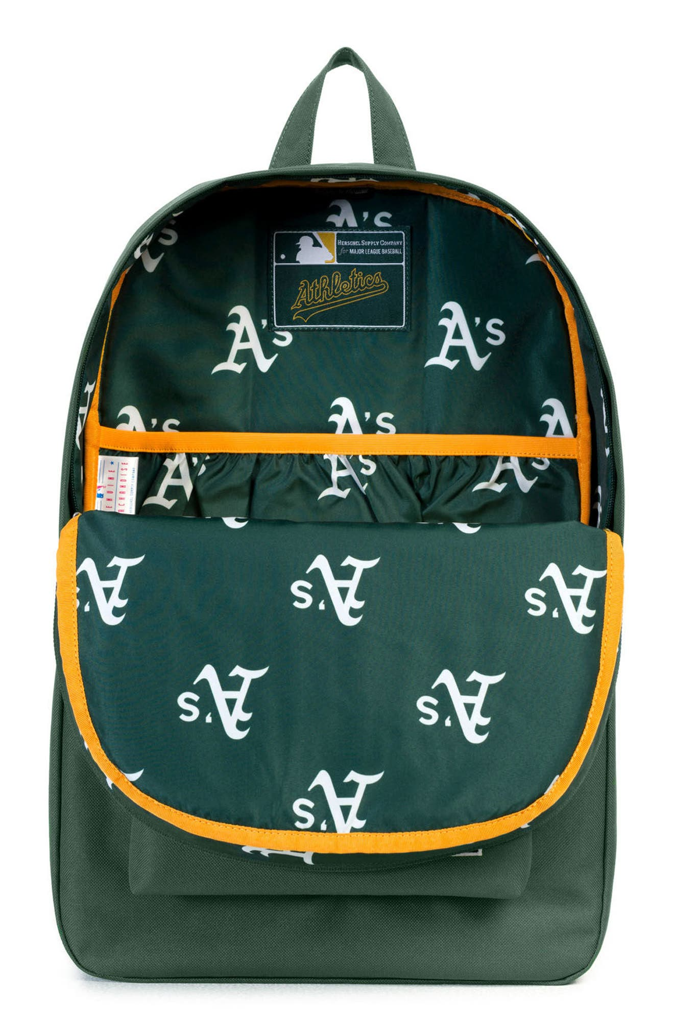 HERSCHEL SUPPLY CO., Heritage - MLB American League Backpack, Alternate thumbnail 3, color, OAKLAND A