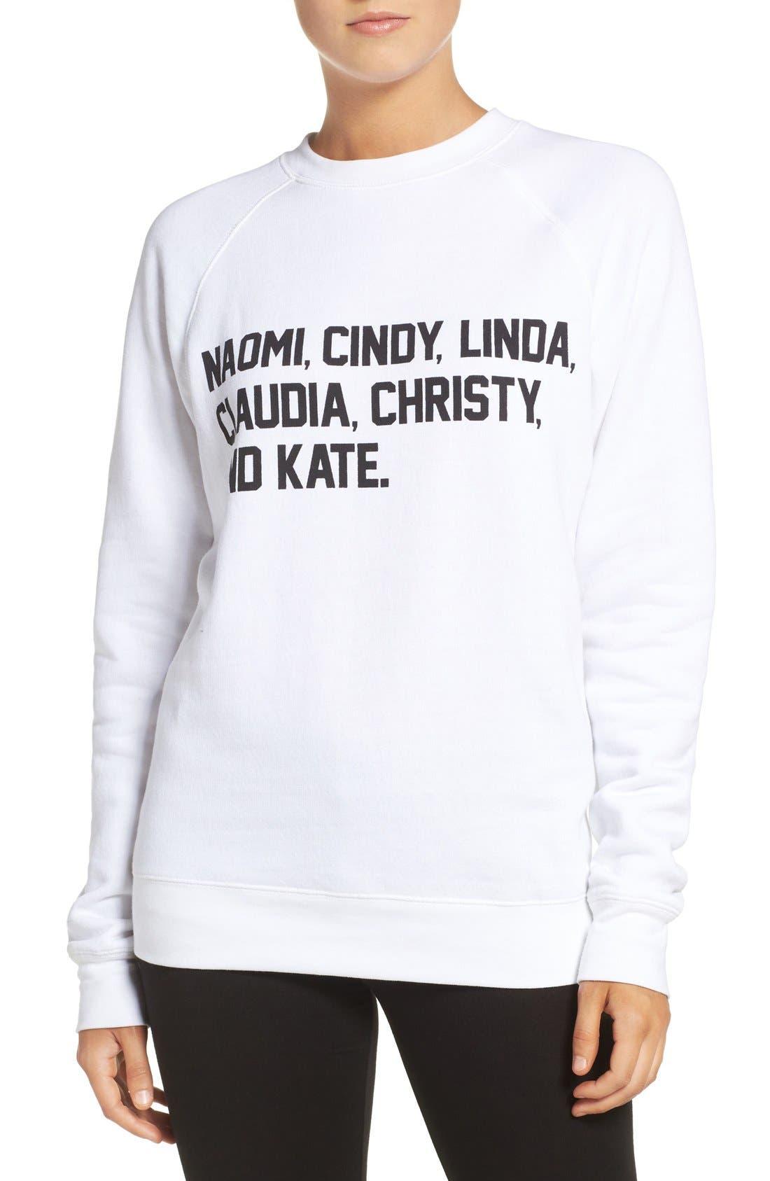 BRUNETTE THE LABEL Brunette 'Roll Call' Crewneck Sweatshirt, Main, color, 100