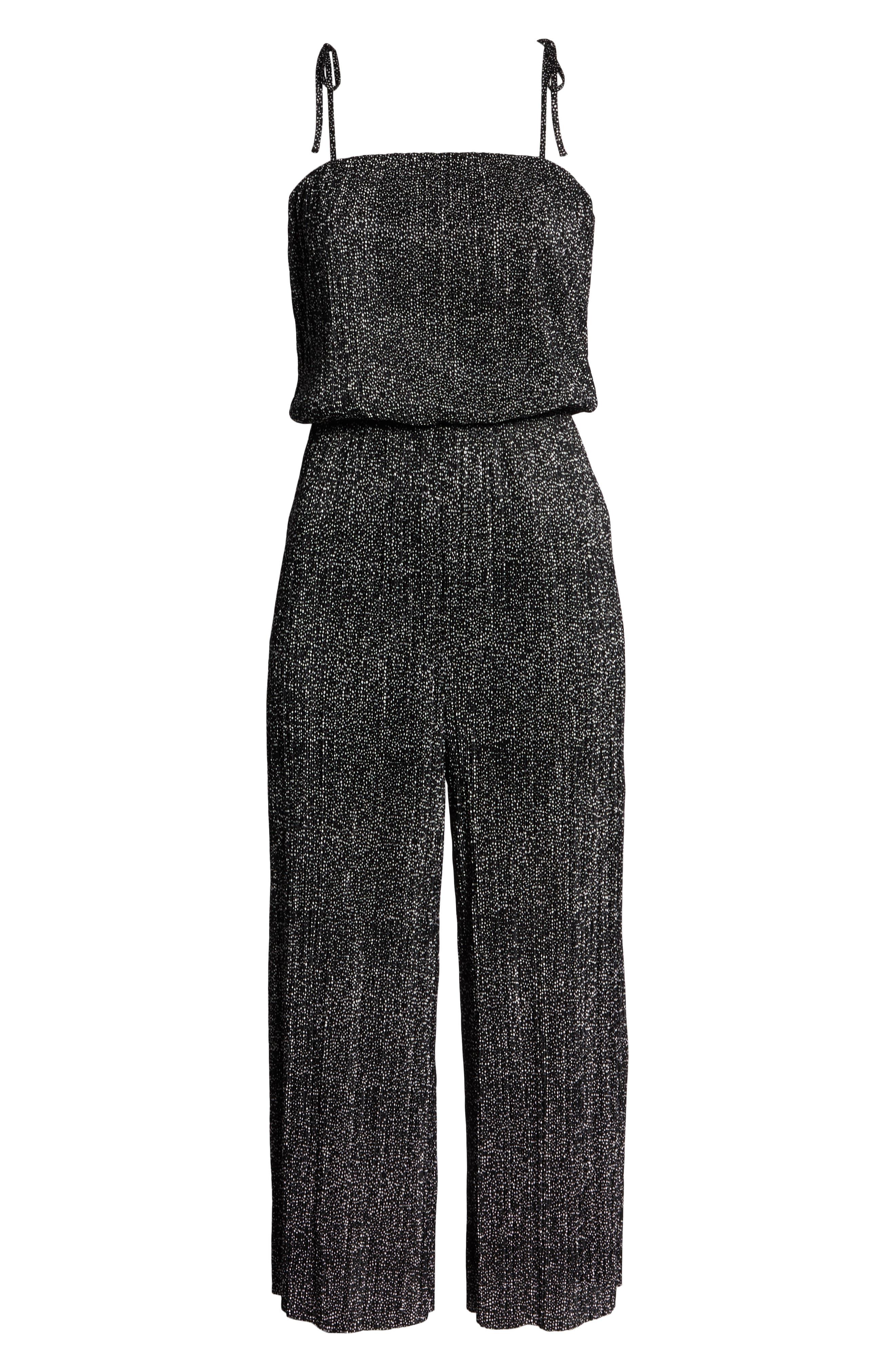 19 COOPER, Tie Shoulder Jumpsuit, Alternate thumbnail 7, color, BLACK/ WHITE