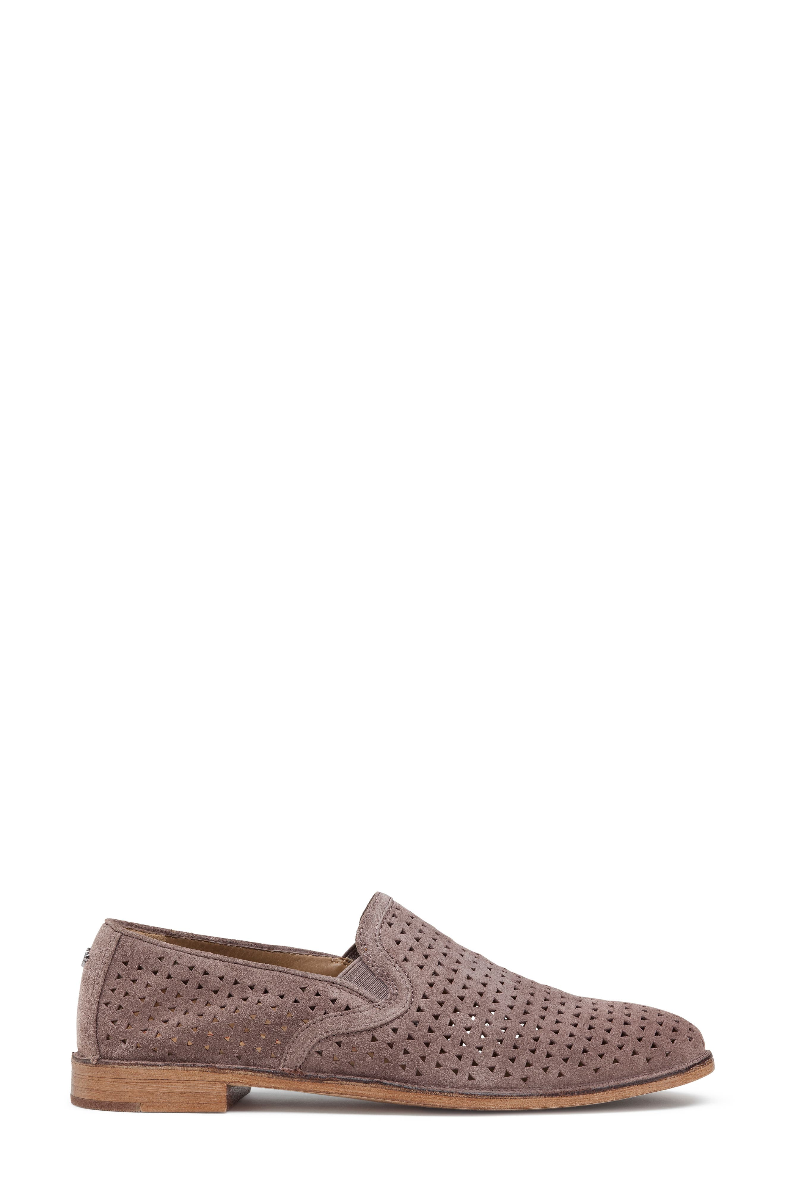 TRASK, Ali Perforated Loafer, Alternate thumbnail 3, color, BLUSH SUEDE