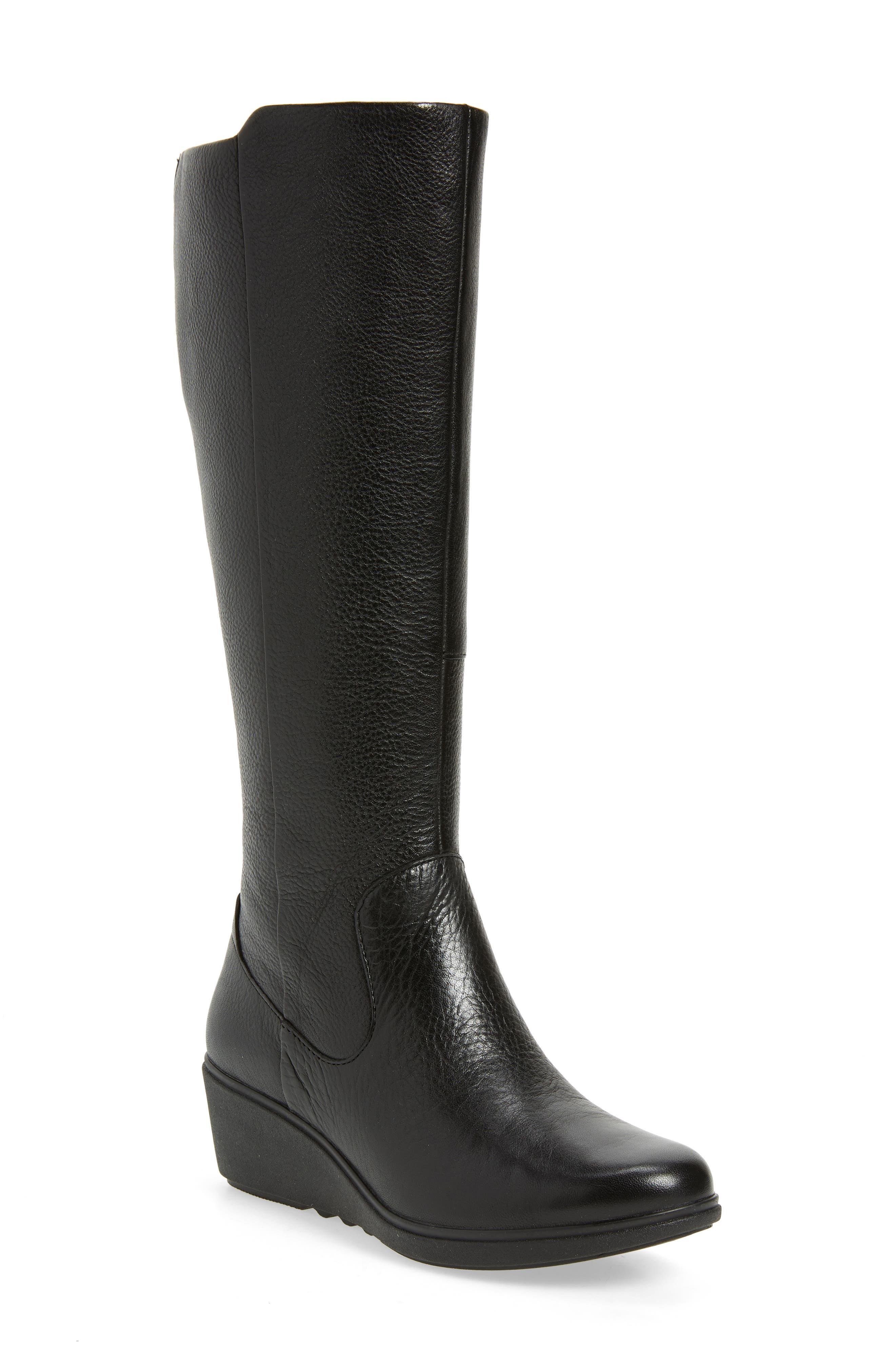 CLARKS<SUP>®</SUP> Un Tallara Esa Wedge Boot, Main, color, BLACK LEATHER
