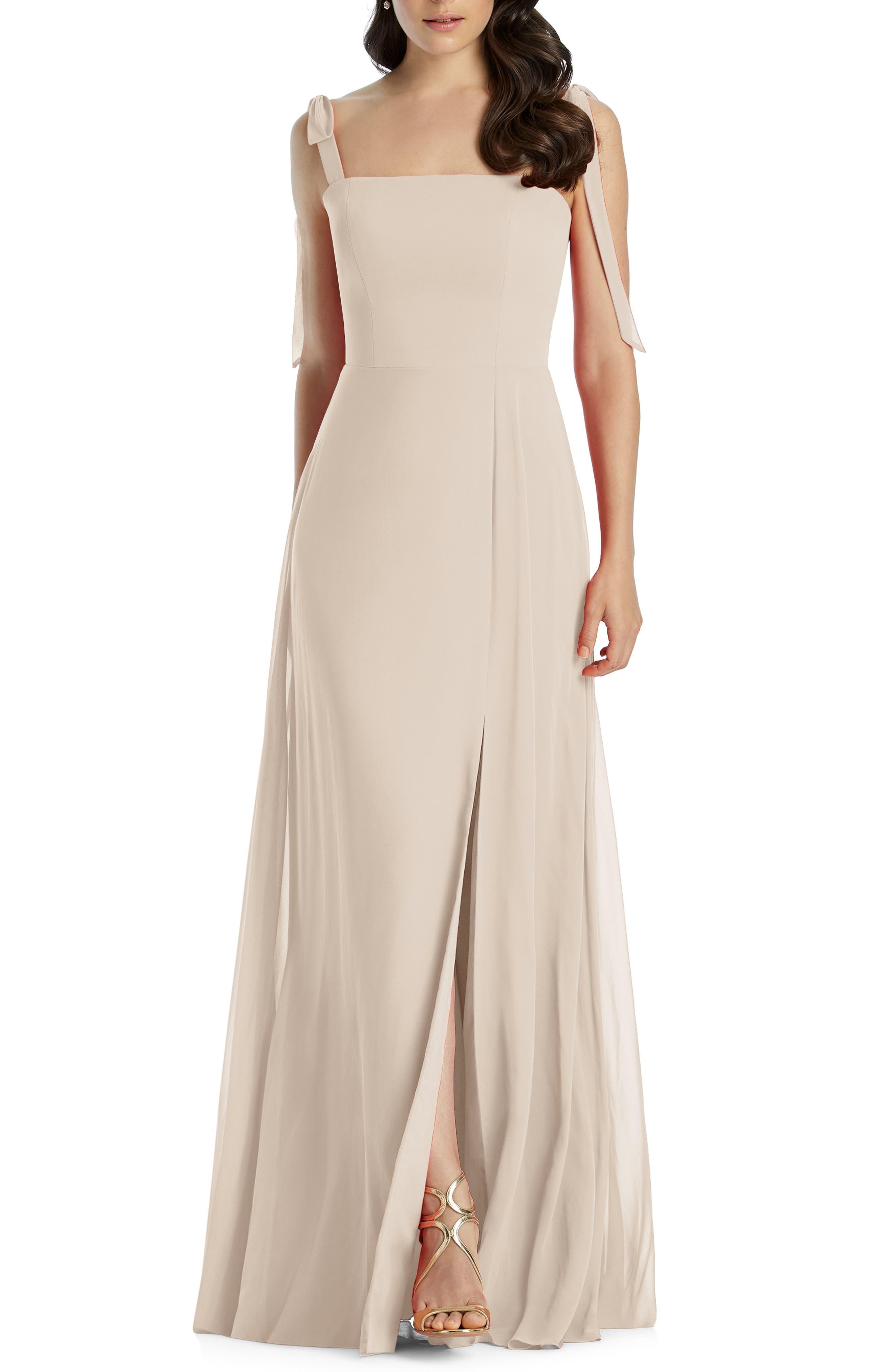 Dessy Collection Shoulder Tie Chiffon Evening Dress, Beige