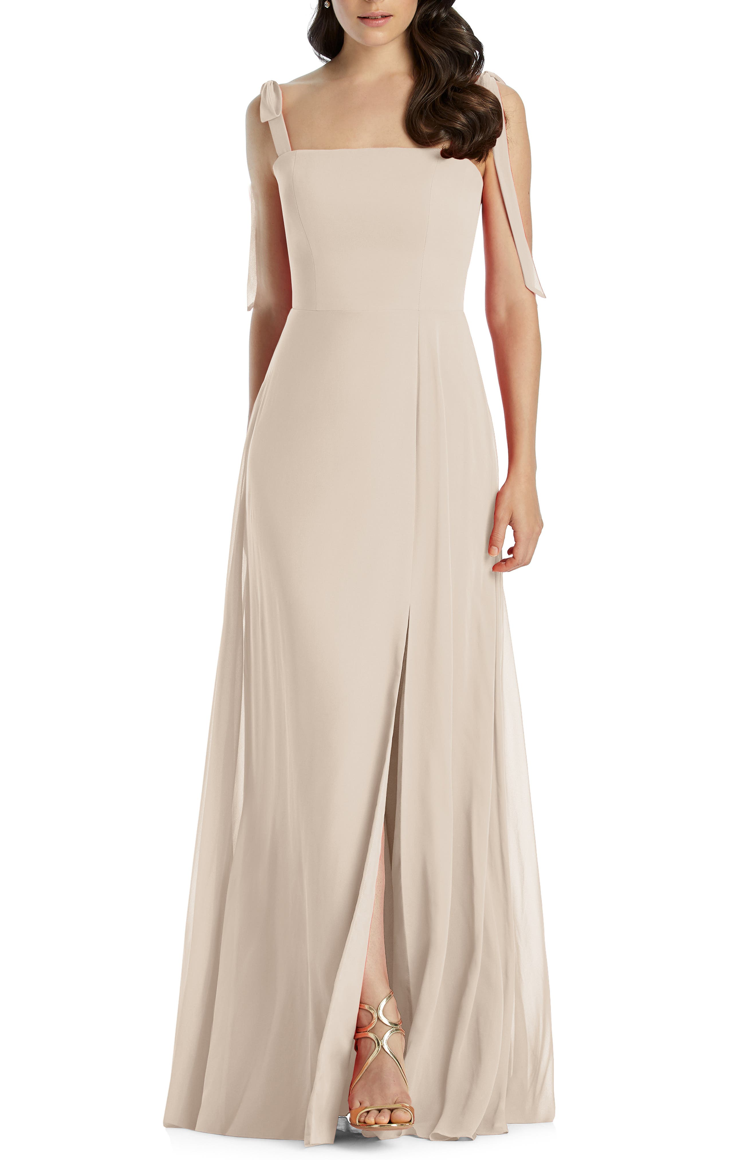 DESSY COLLECTION, Shoulder Tie Chiffon Evening Dress, Main thumbnail 1, color, CAMEO