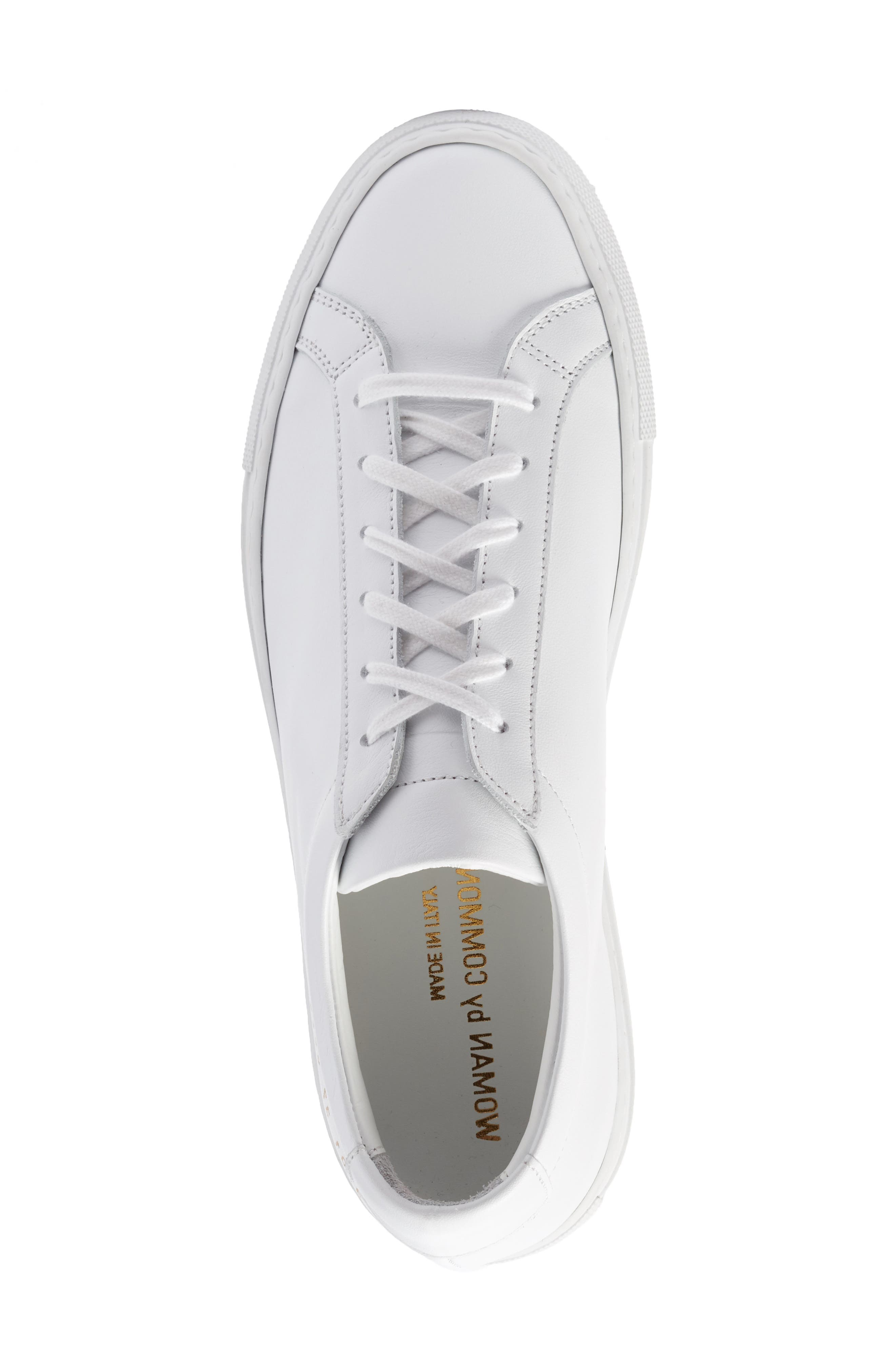 COMMON PROJECTS, Original Achilles Sneaker, Alternate thumbnail 5, color, WHITE LEATHER