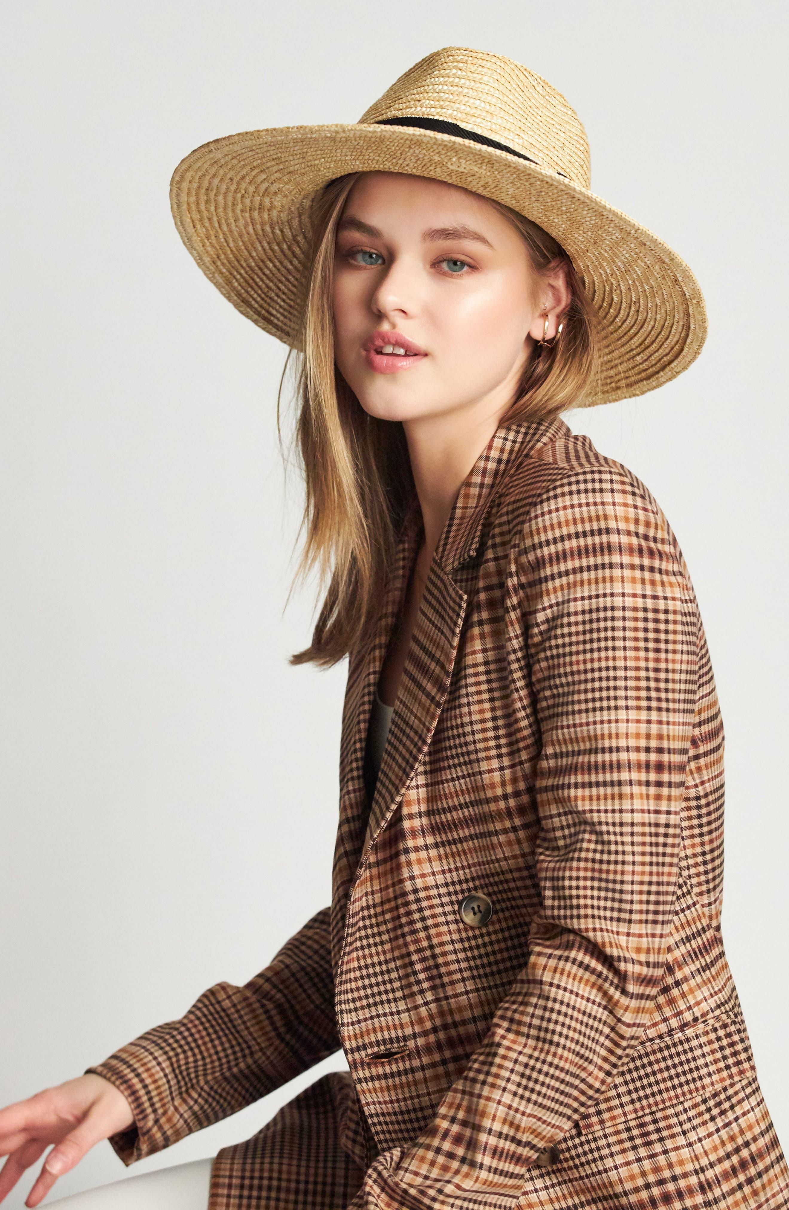 BRIXTON, 'Joanna' Straw Hat, Alternate thumbnail 6, color, HONEY