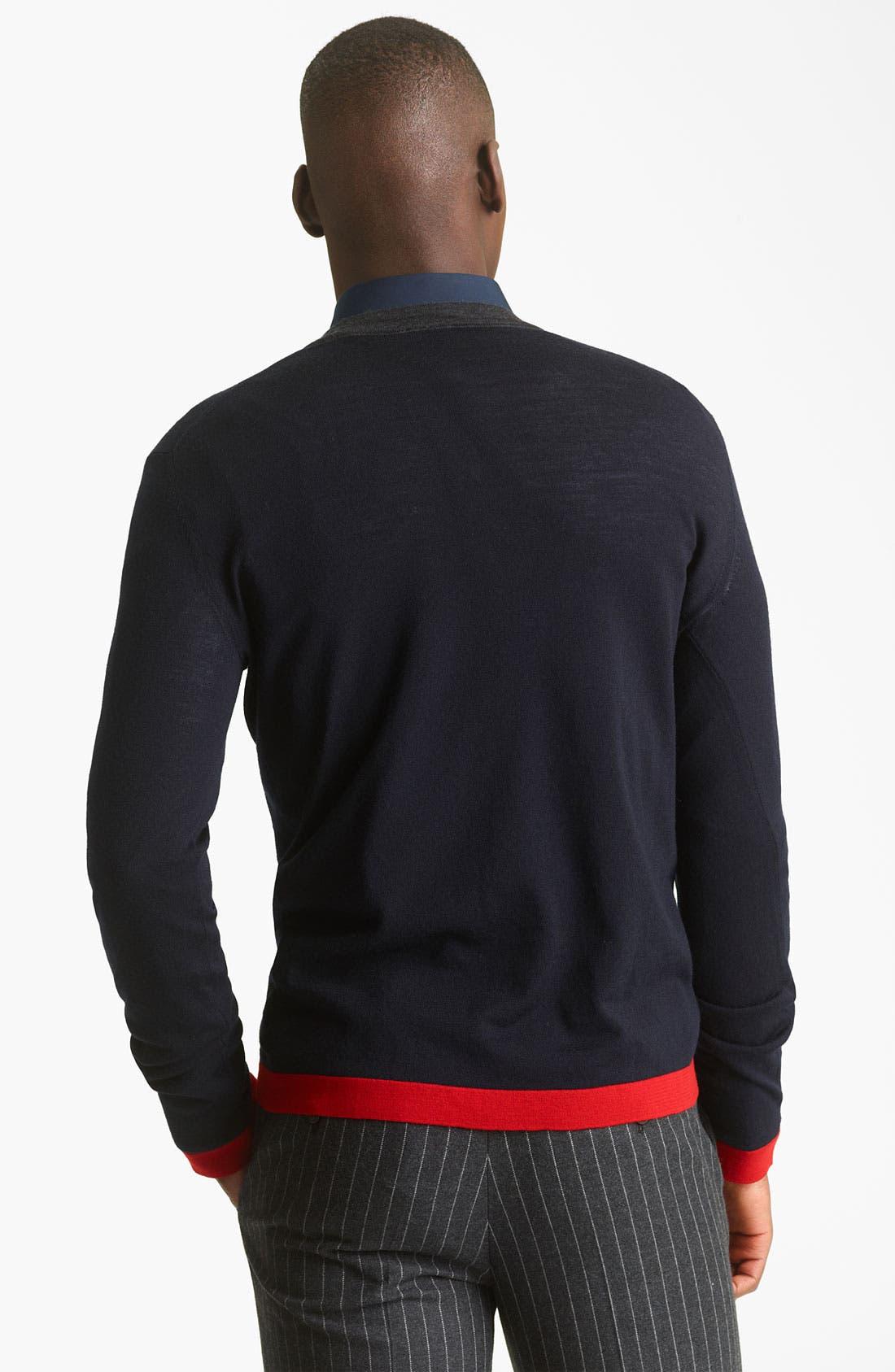 KENZO, V-Neck Sweater, Alternate thumbnail 3, color, 410