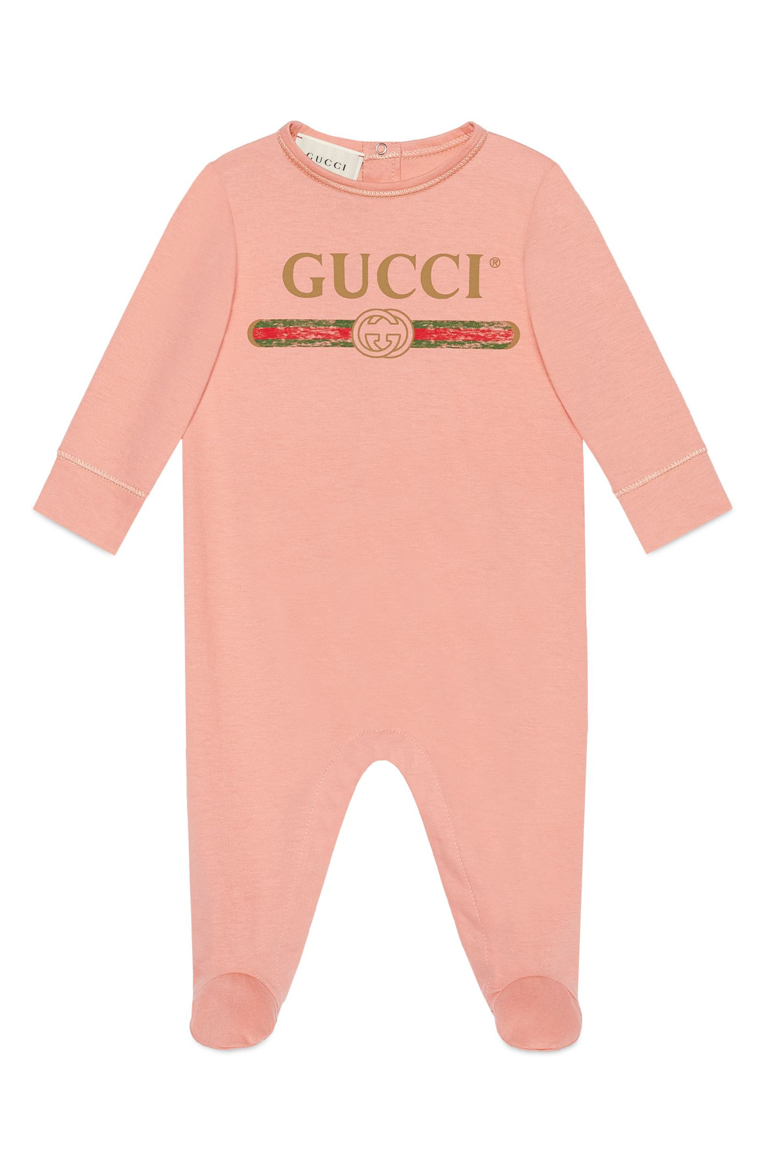 GUCCI, Logo Cotton Footie, Main thumbnail 1, color, PINK MULTI