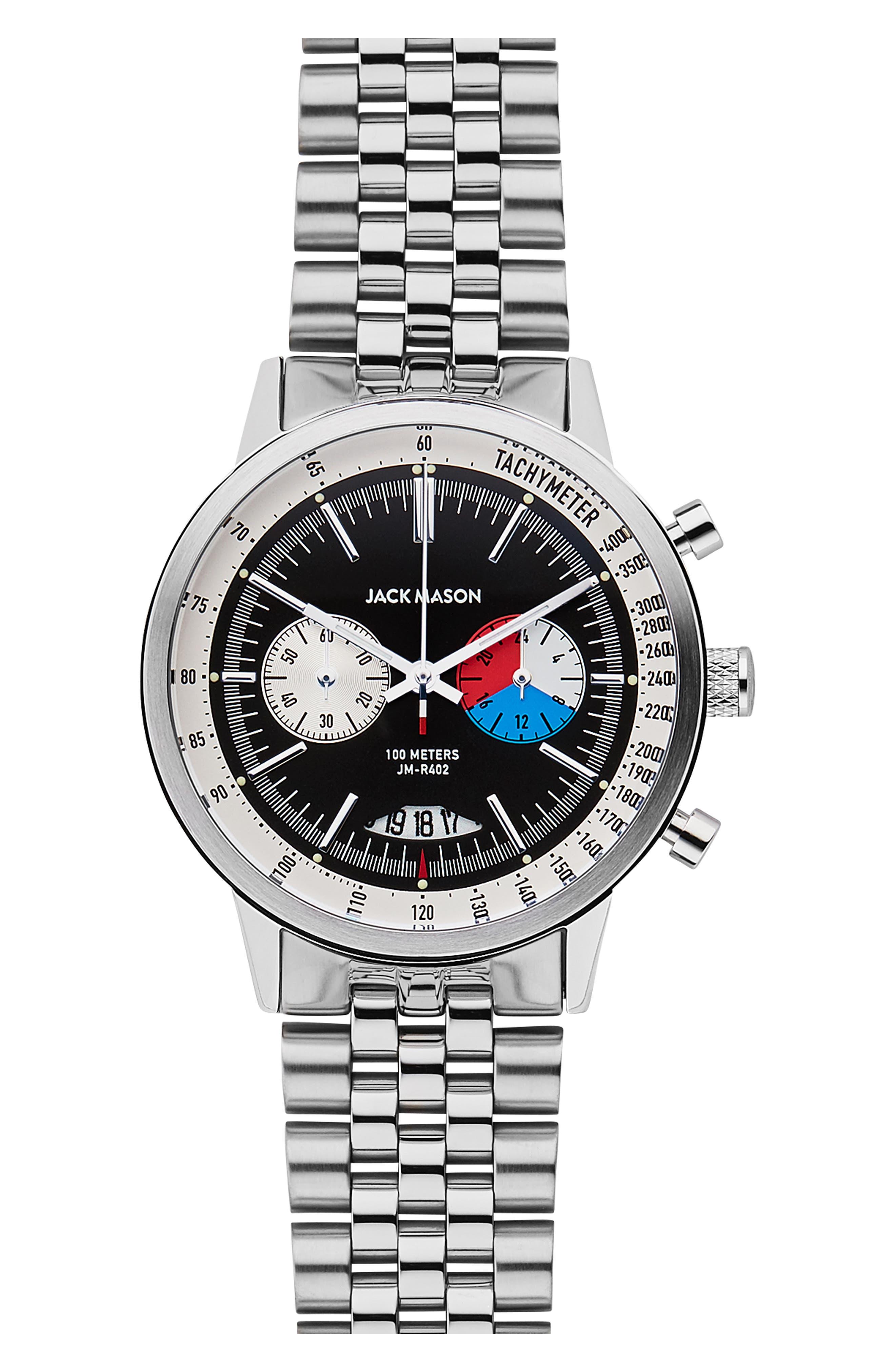 JACK MASON, Racing Chronograph Bracelet Watch, 40mm, Main thumbnail 1, color, BLACK