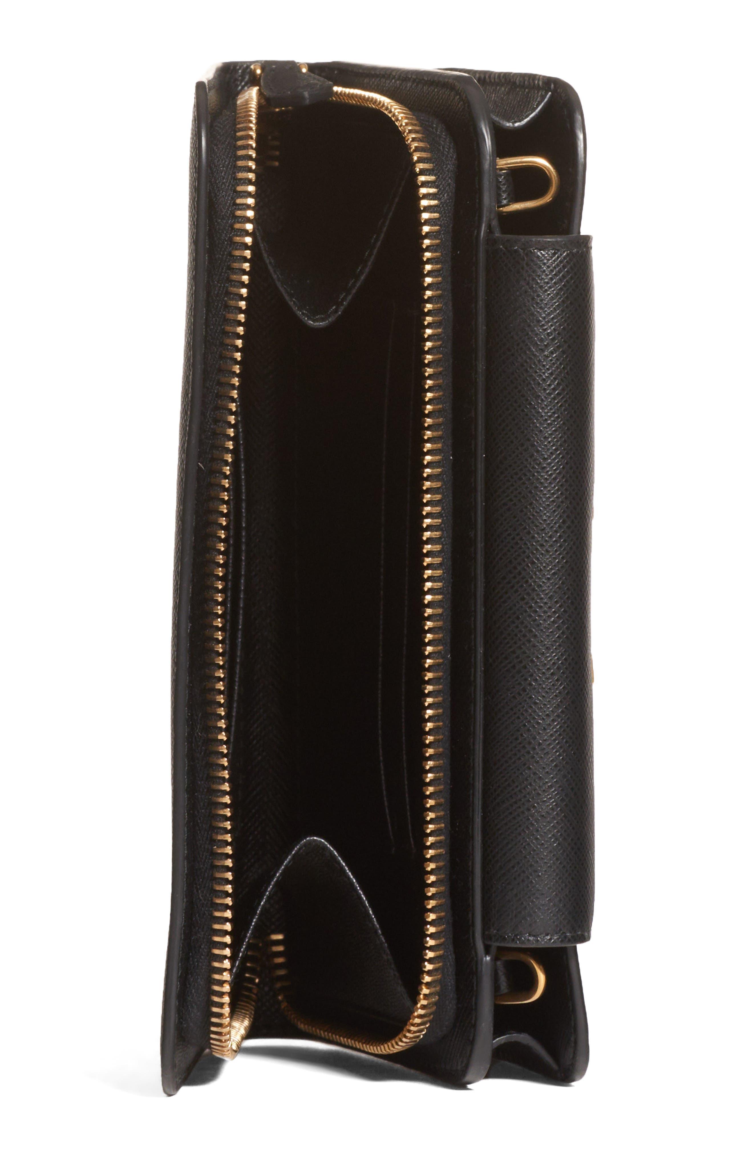 PRADA, Saffiano Leather Wallet on a Chain, Alternate thumbnail 5, color, NERO