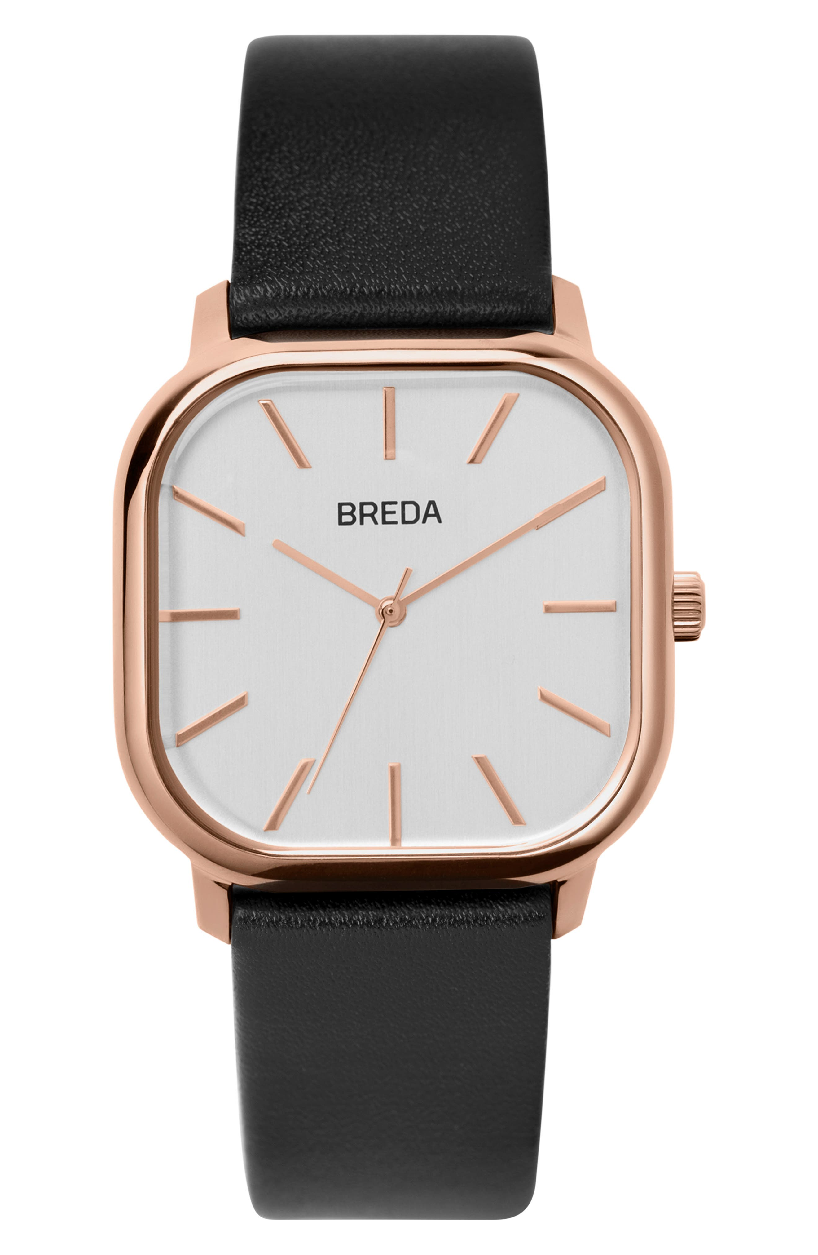 BREDA, Visser Square Leather Strap Watch, 35mm, Main thumbnail 1, color, 001