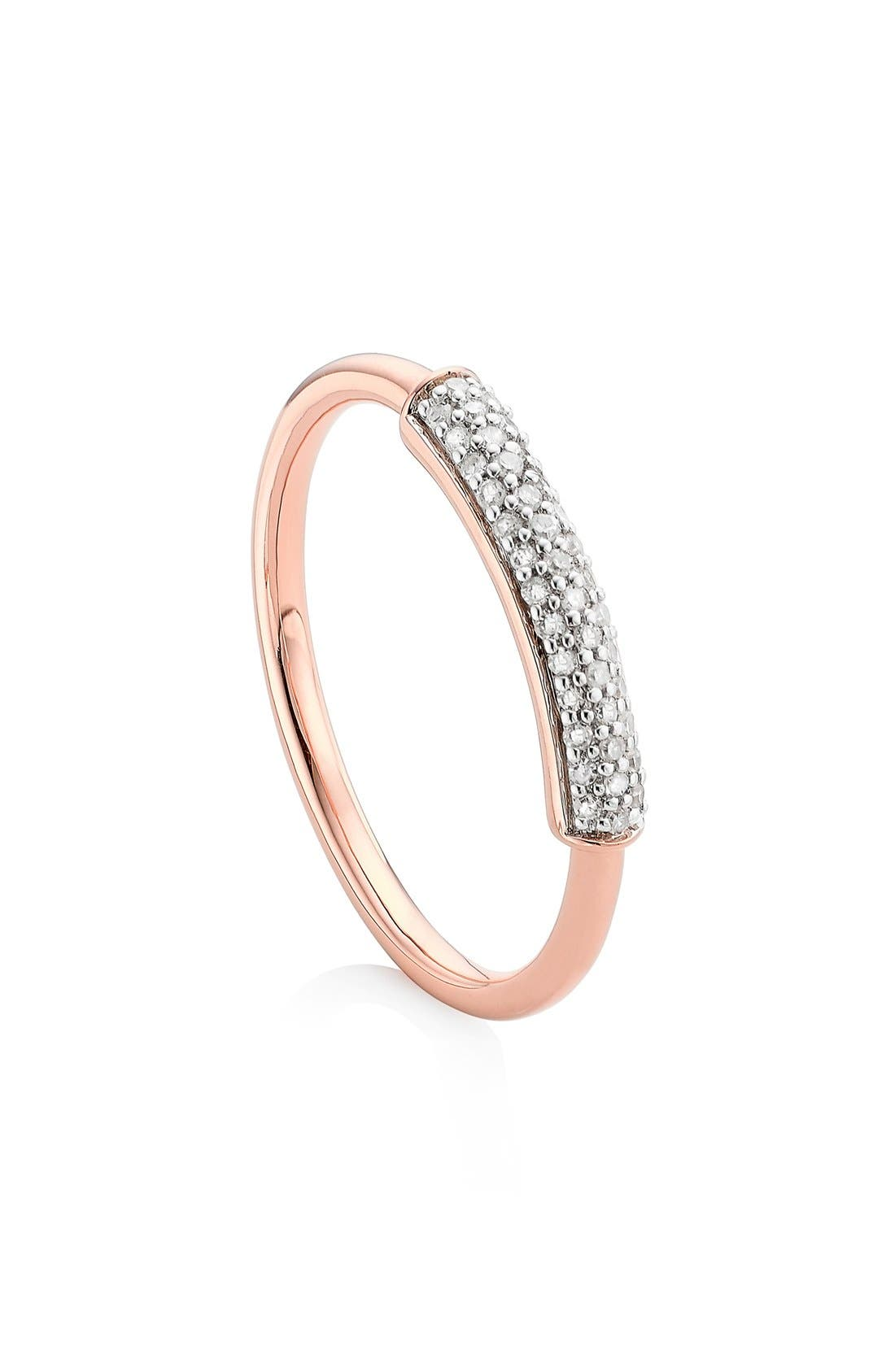 MONICA VINADER, 'Stellar' Diamond Band Ring, Main thumbnail 1, color, ROSE GOLD