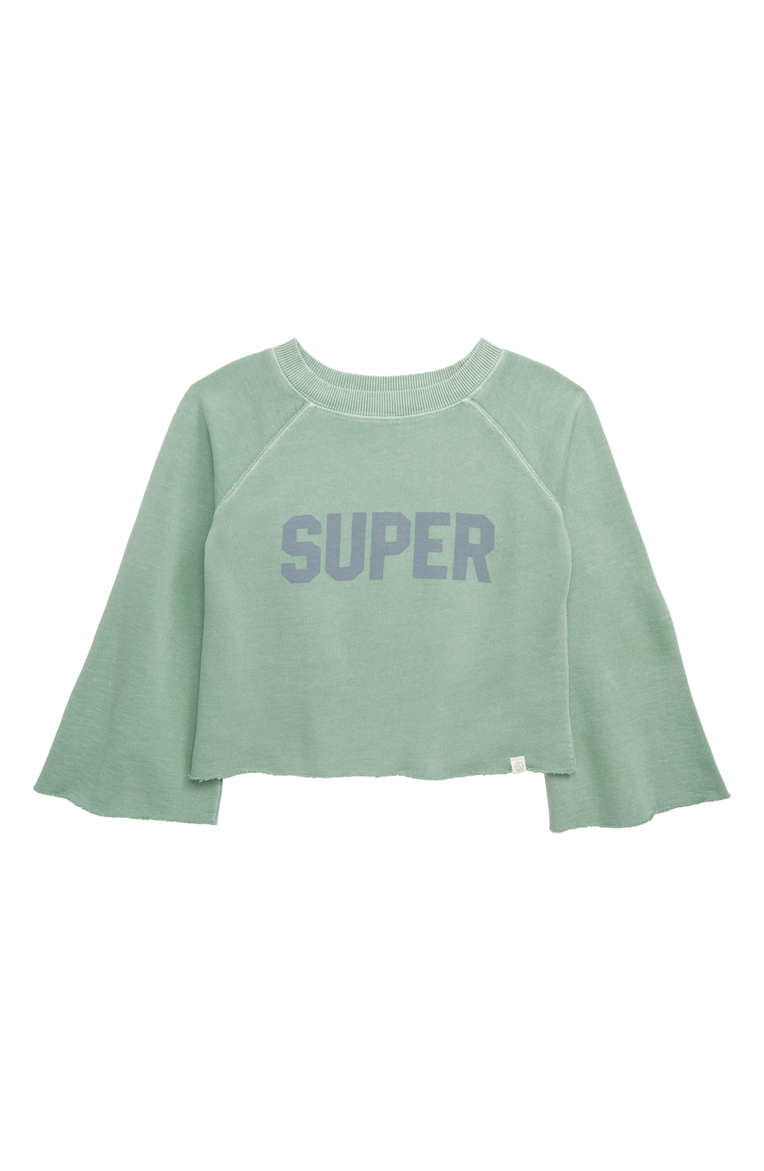 TREASURE & BOND, Washed Wide Sleeve Sweatshirt, Main thumbnail 1, color, GREEN WING SUPER
