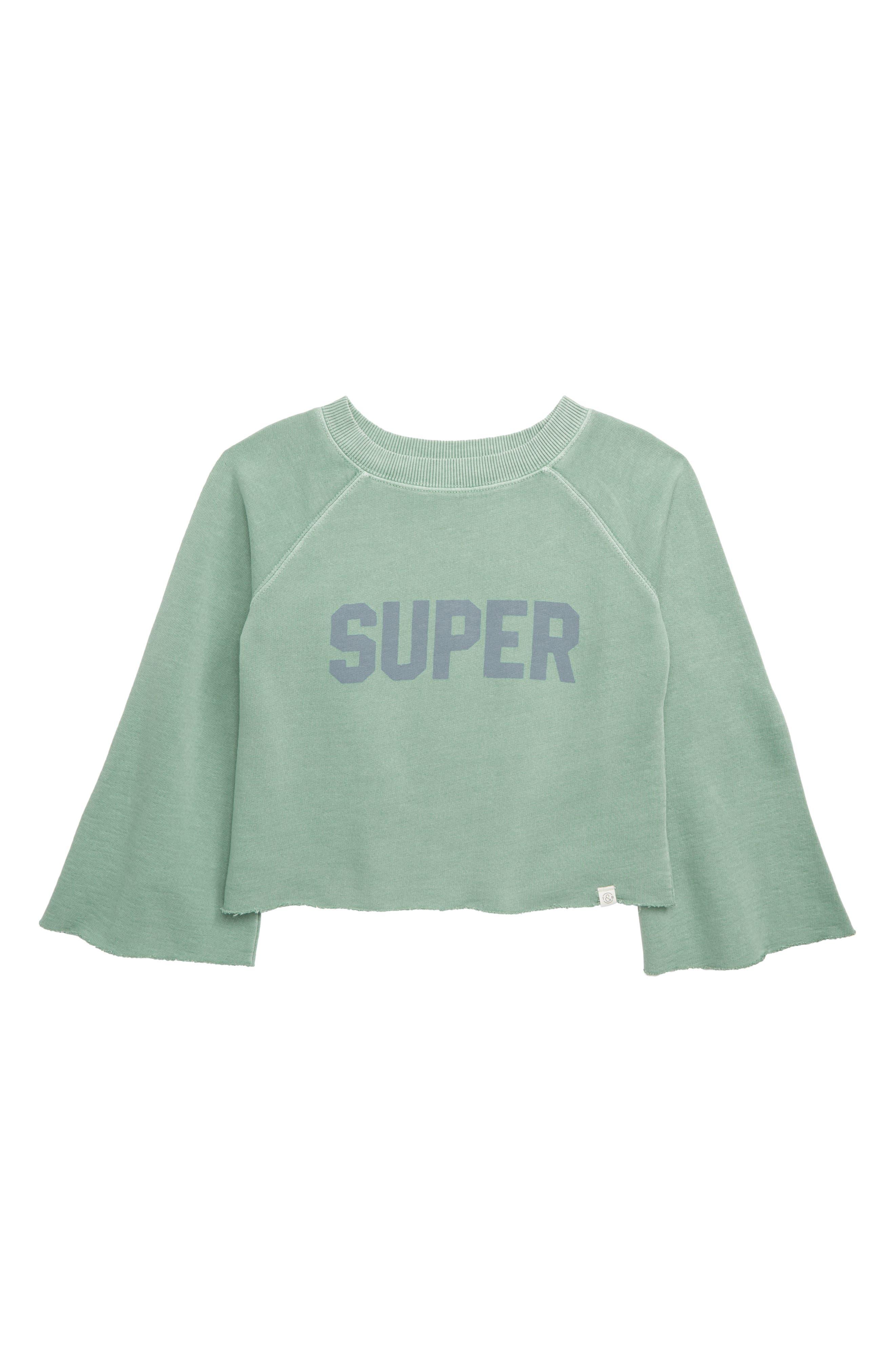 TREASURE & BOND Washed Wide Sleeve Sweatshirt, Main, color, GREEN WING SUPER
