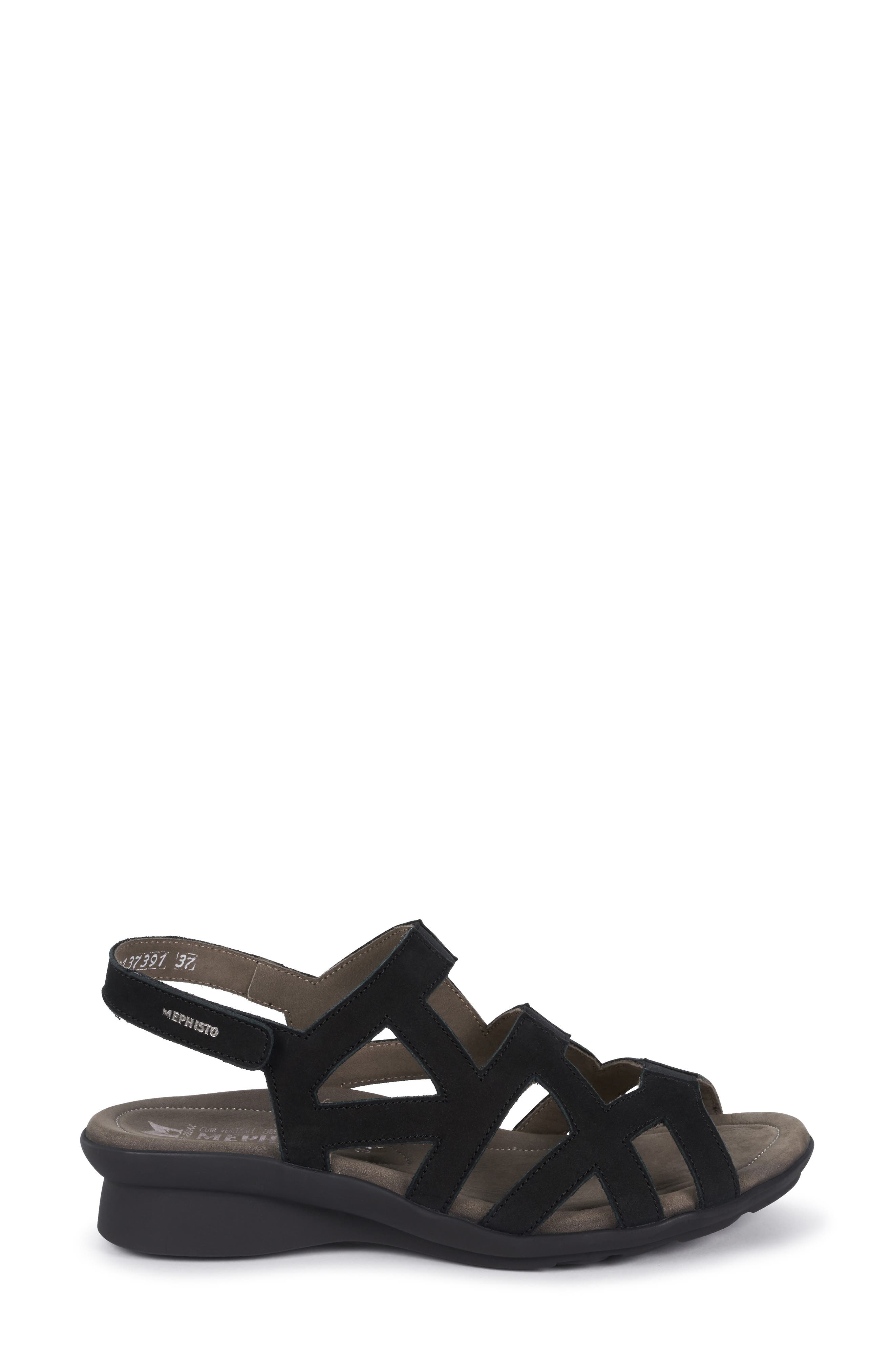 MEPHISTO, Pamela Sandal, Alternate thumbnail 3, color, BLACK NUBUCK